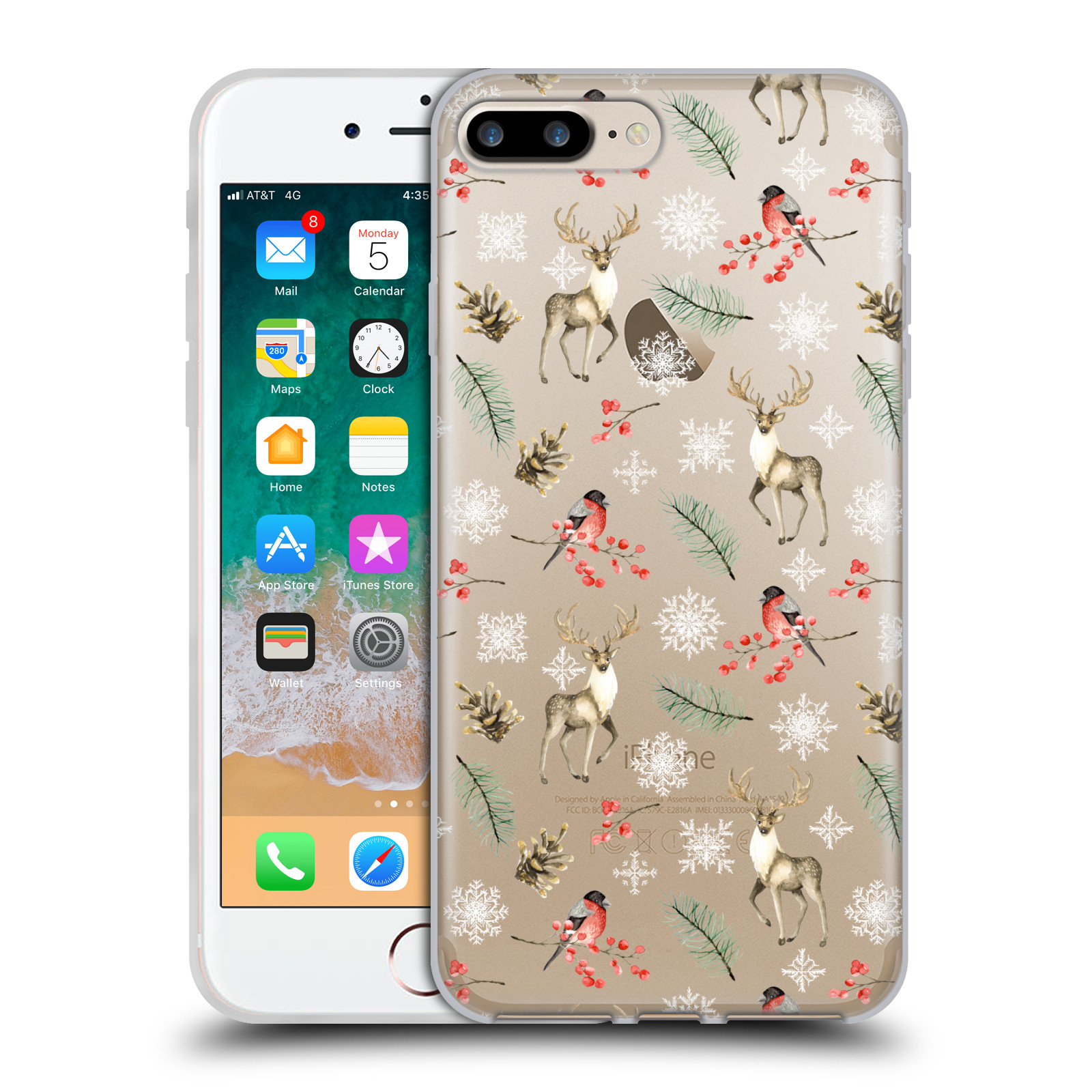 Official Julia Badeeva  Animal Patterns 4 Snowflakes Gel Case for Apple iPhone 7 Plus / iPhone 8 Plus