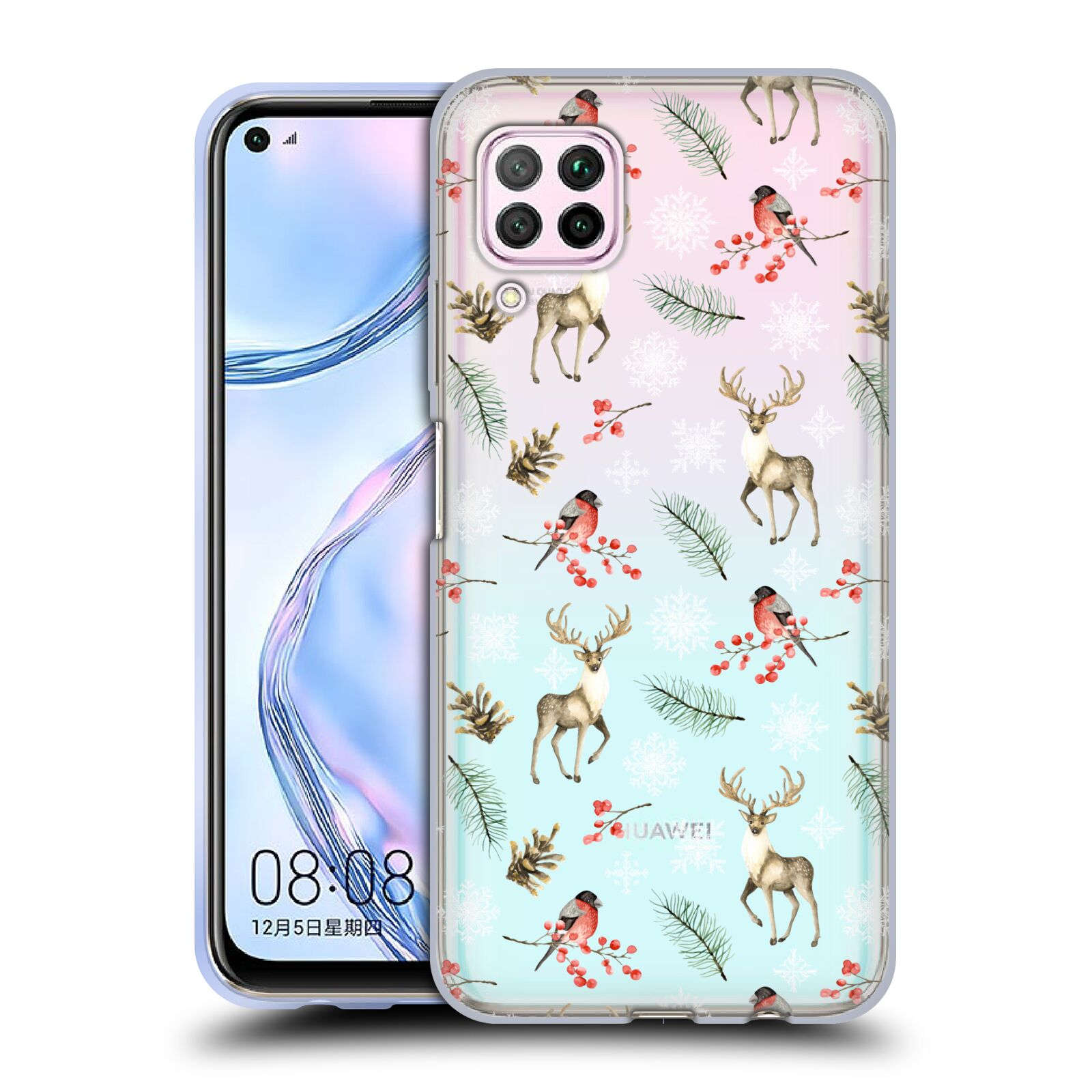 Official Julia Badeeva  Animal Patterns 4 Snowflakes Gel Case for Huawei Nova 6 SE