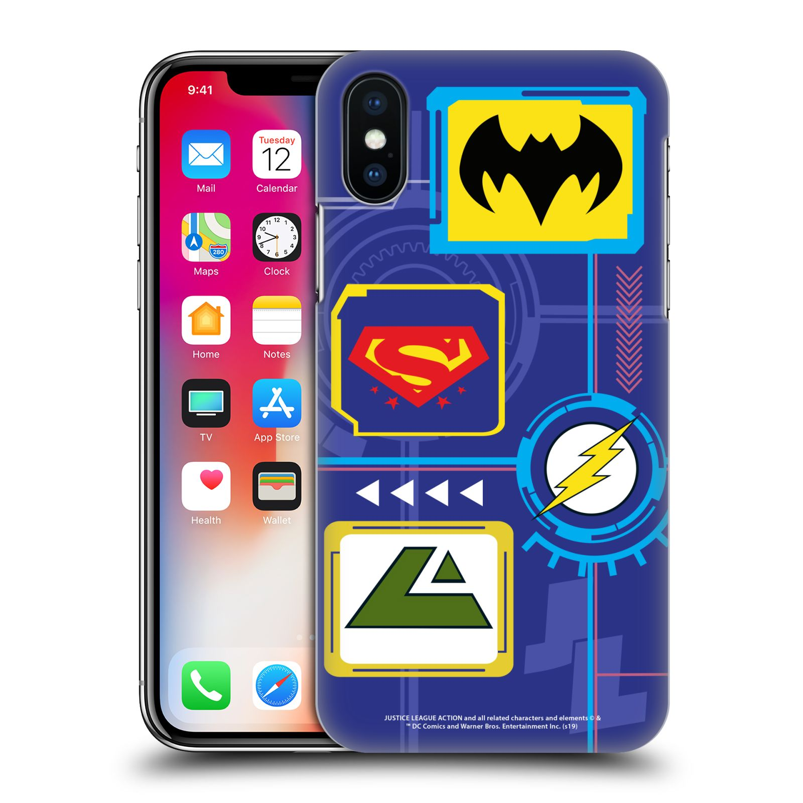 Official Justice League Action Logos Digital Case for Apple iPhone X / iPhone XS