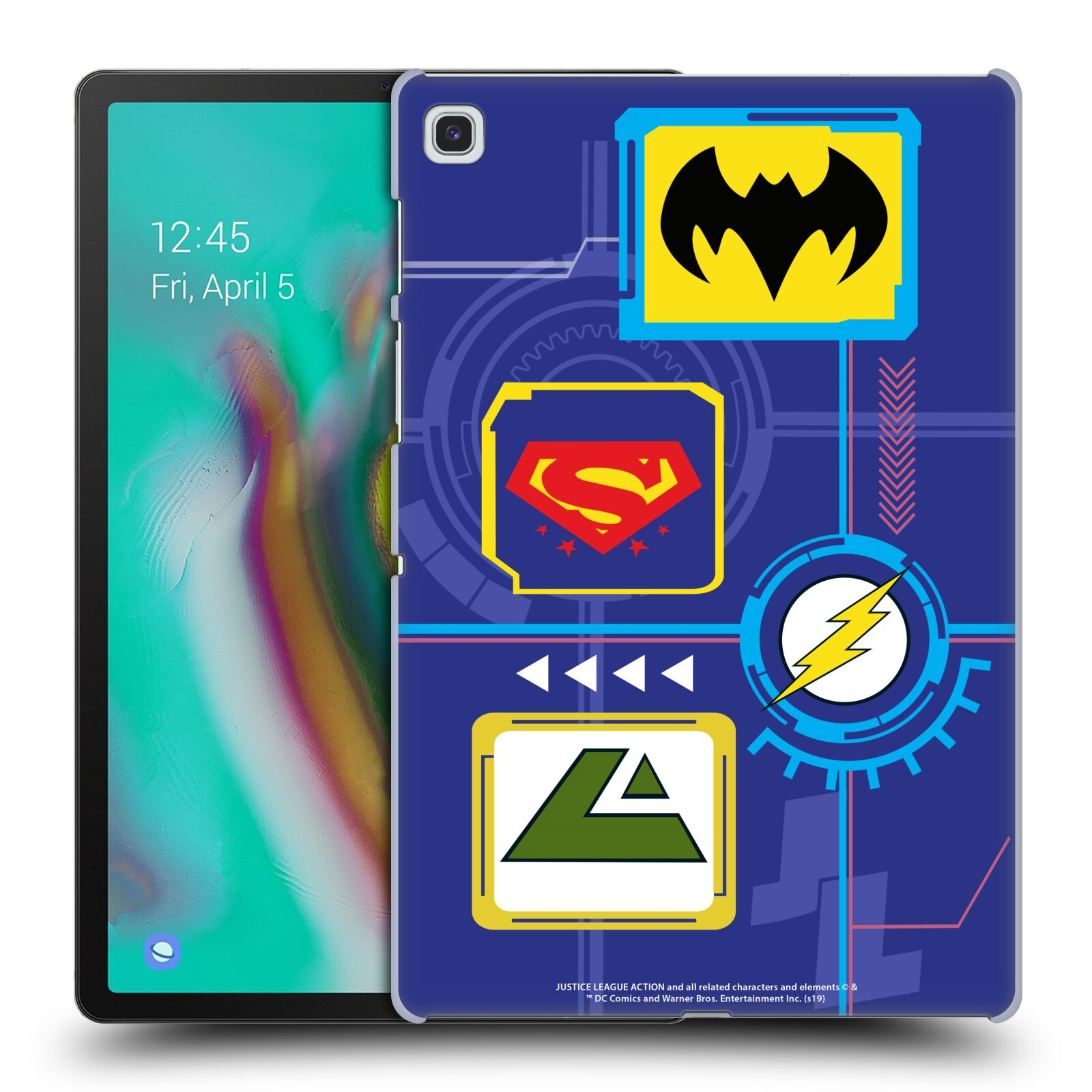 Official Justice League Action Logos Digital Case for Samsung Galaxy Tab S5e