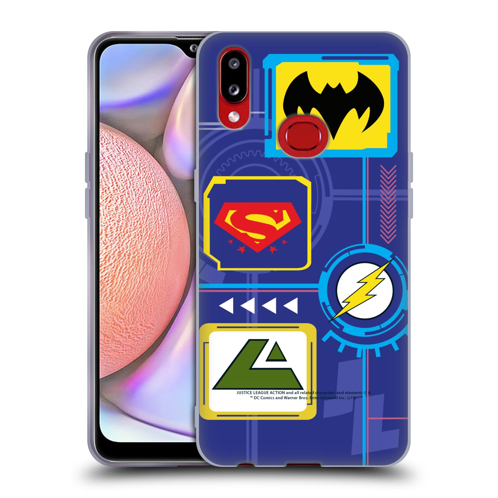 Official Justice League Action Logos Digital Gel Case for Samsung Galaxy A10s (2019)