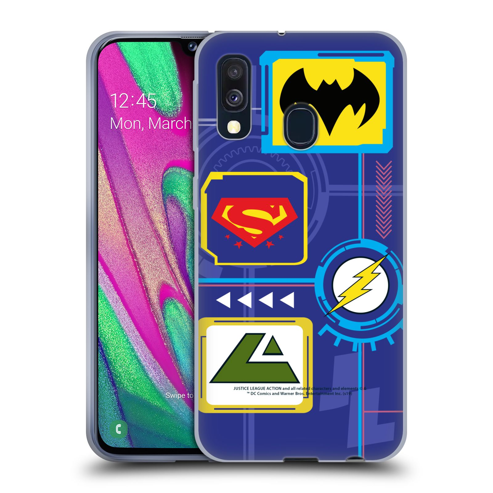 Official Justice League Action Logos Digital Gel Case for Samsung Galaxy A40 (2019)