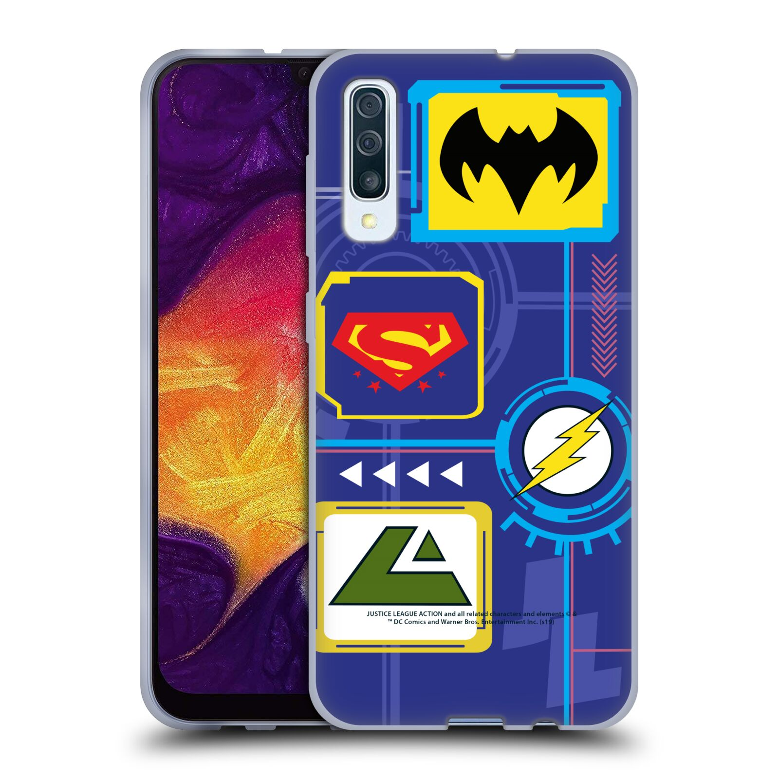 Official Justice League Action Logos Digital Gel Case for Samsung Galaxy A50s (2019)