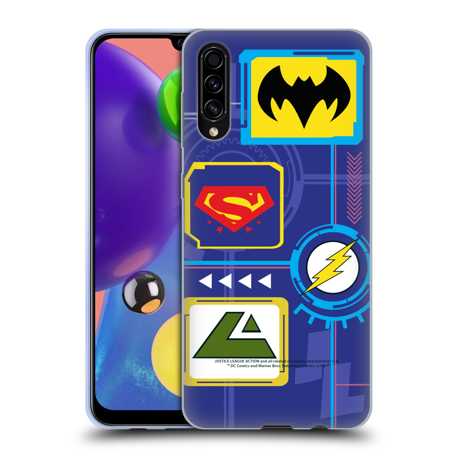 Official Justice League Action Logos Digital Gel Case for Samsung Galaxy A70s (2019)