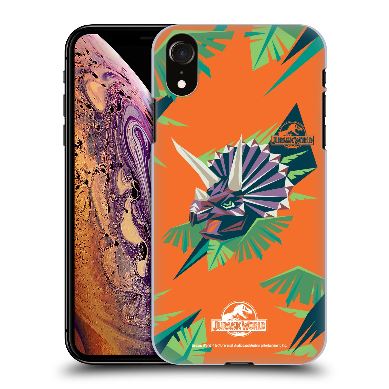 Official Jurassic World Trend Art Triceratops Geometric Case for Apple iPhone XR