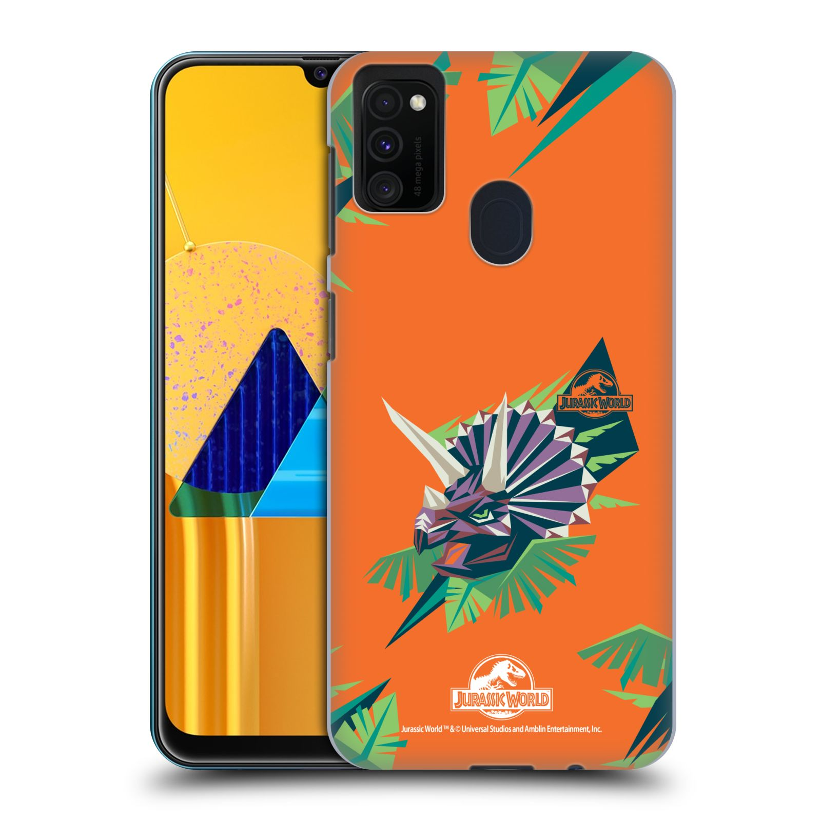 Official Jurassic World Trend Art Triceratops Geometric Case for Samsung Galaxy M30s (2019)