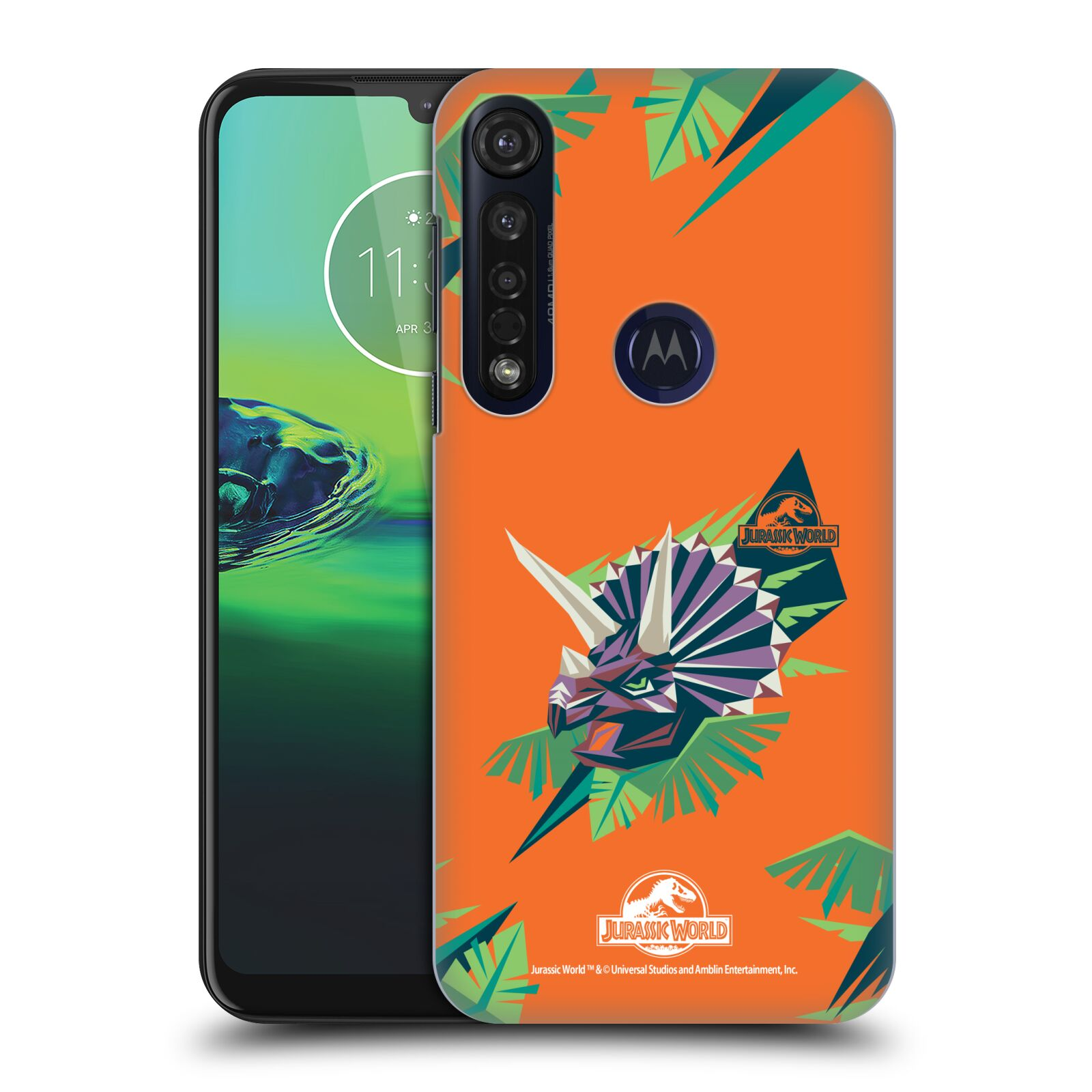 Official Jurassic World Trend Art Triceratops Geometric Case for Motorola Moto G8 Plus