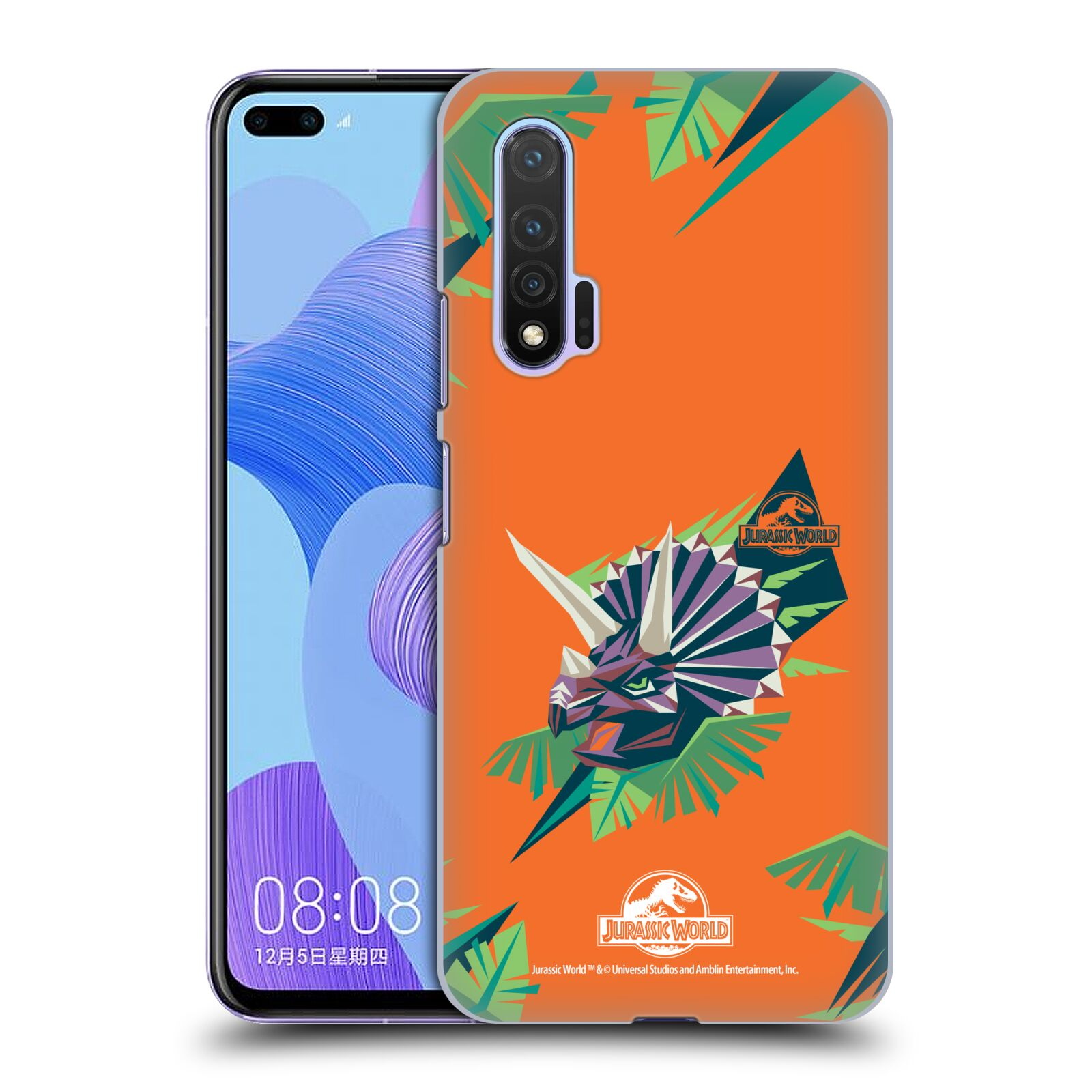 Official Jurassic World Trend Art Triceratops Geometric Case for Huawei Nova 6 5G