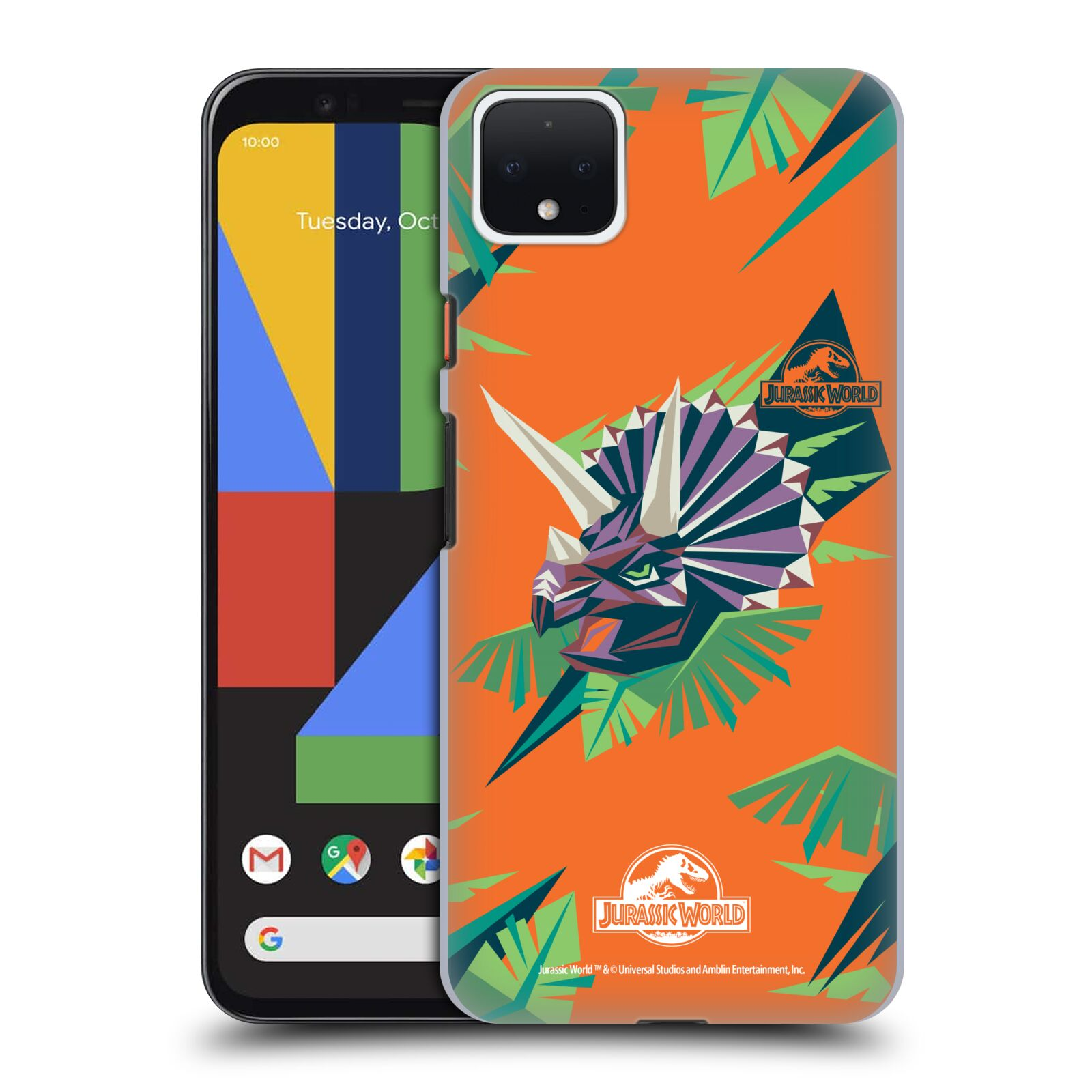 Official Jurassic World Trend Art Triceratops Geometric Case for Google Pixel 4 XL