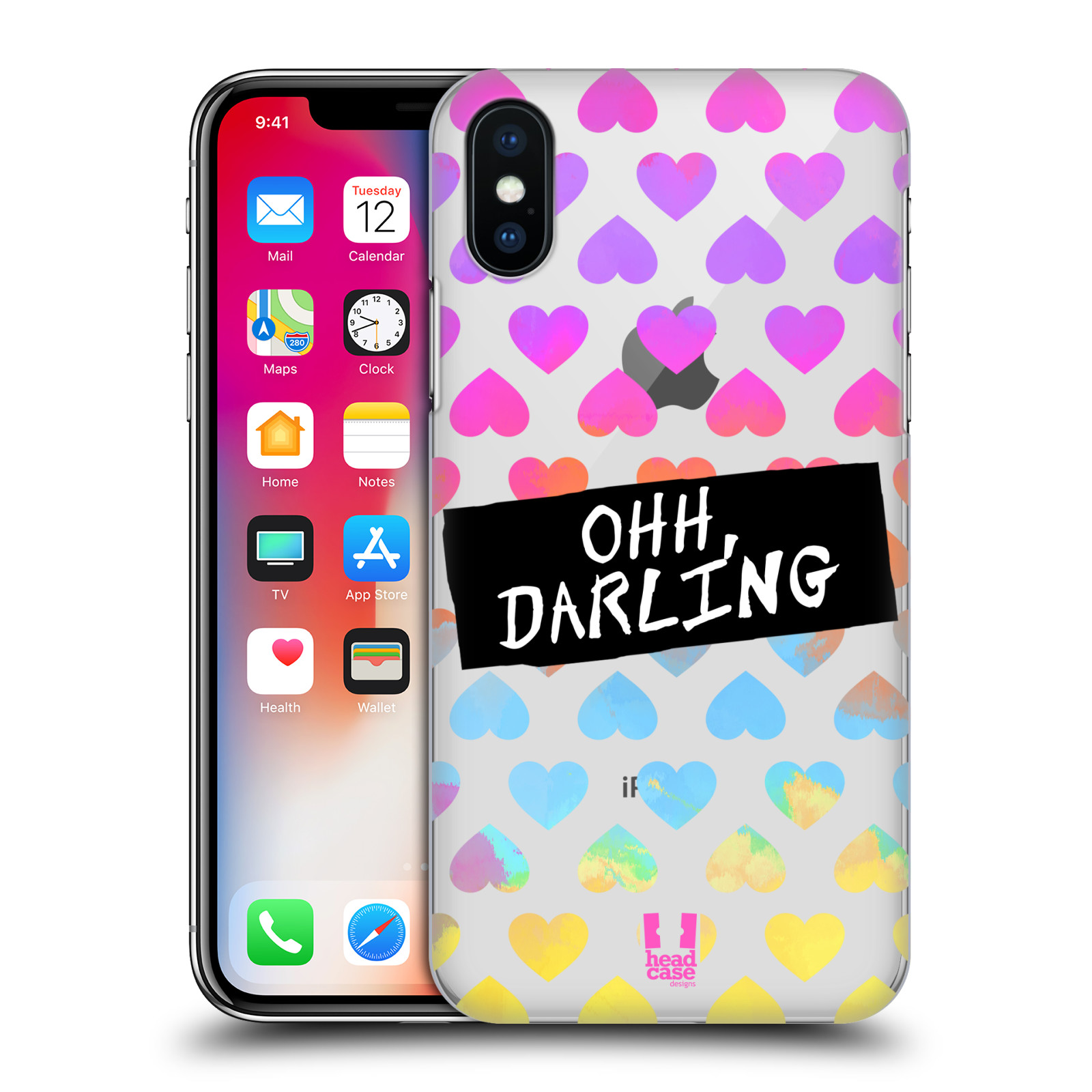 HEAD-CASE-DESIGNS-LOVELY-HEARTS-HARD-BACK-CASE-FOR-APPLE-iPHONE-X