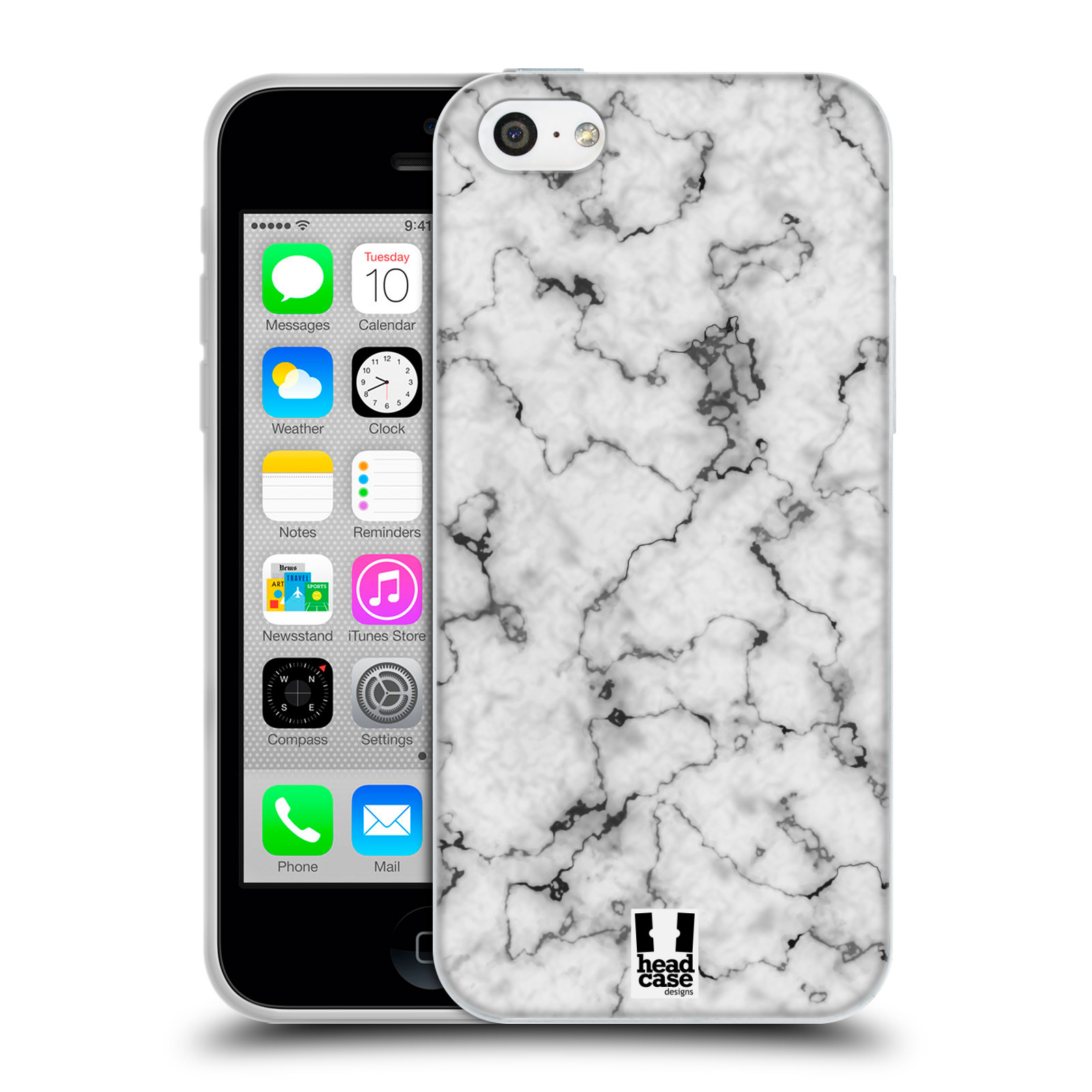 Silikonové pouzdro na mobil Apple iPhone 5C - Head Case - Bílý mramor