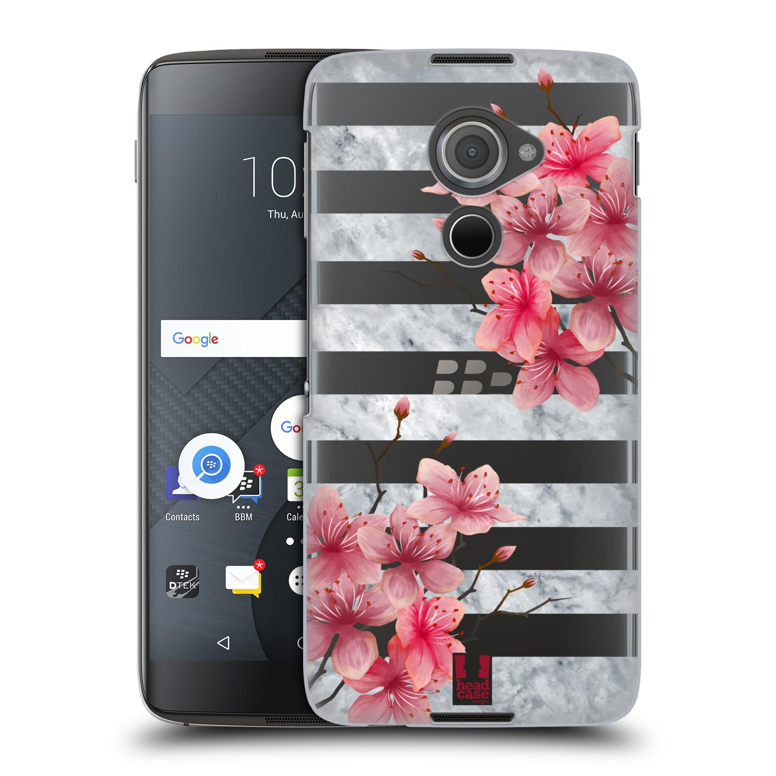 Plastové pouzdro na mobil Blackberry DTEK60 (Argon) - Head Case - Kvítka a mramor