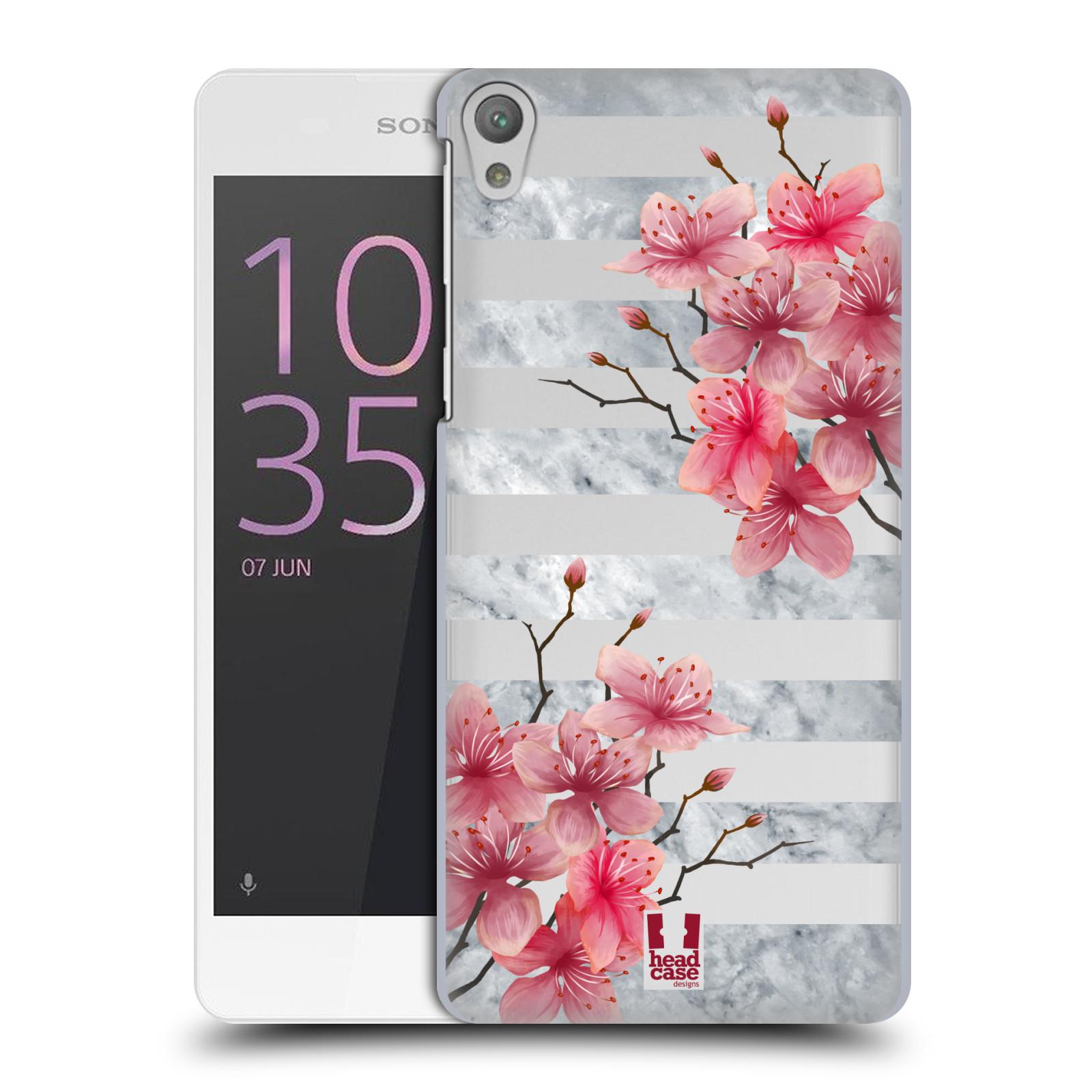 Plastové pouzdro na mobil Sony Xperia E5 - Head Case - Kvítka a mramor
