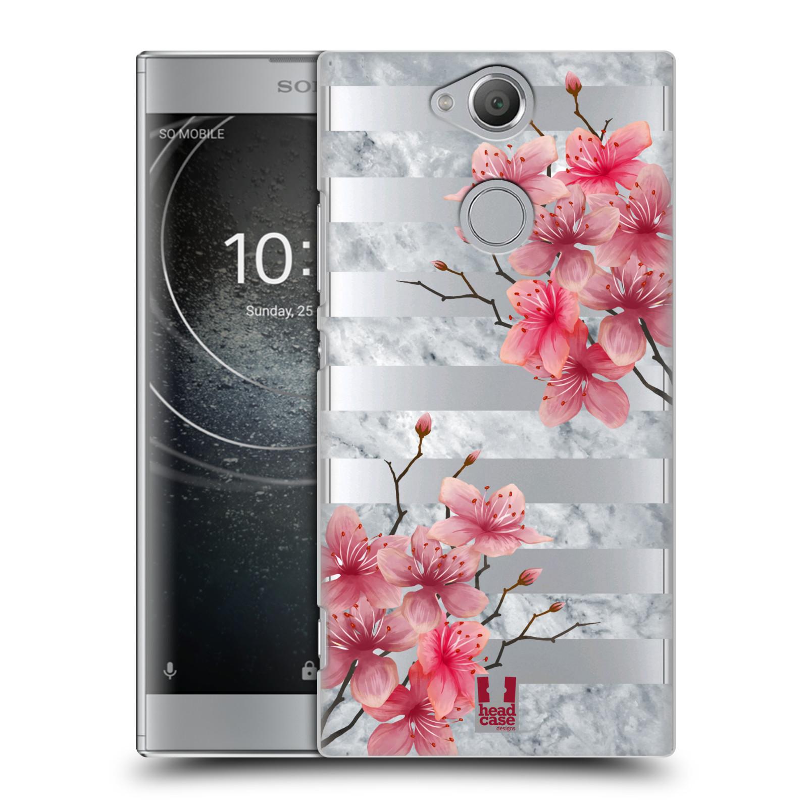Plastové pouzdro na mobil Sony Xperia XA2 - Head Case - Kvítka a mramor