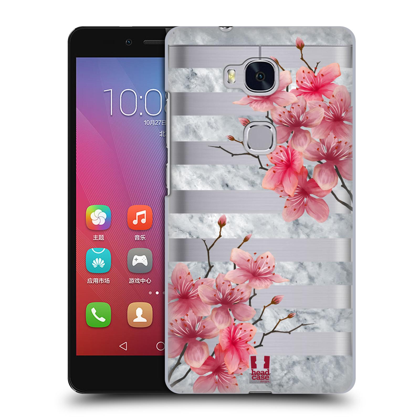 Plastové pouzdro na mobil Honor 5X - Head Case - Kvítka a mramor