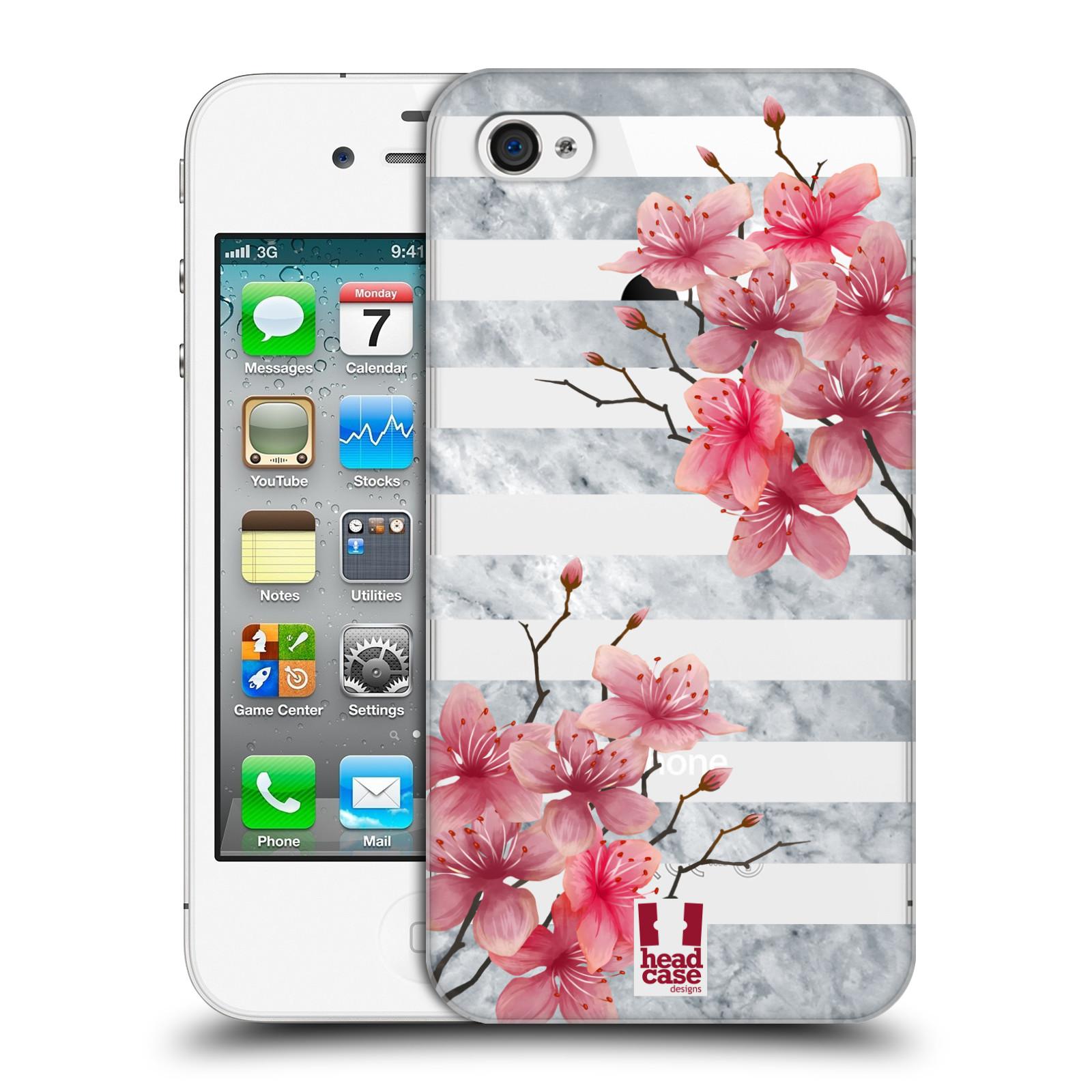 Plastové pouzdro na mobil Apple iPhone 4 a 4S - Head Case - Kvítka a mramor