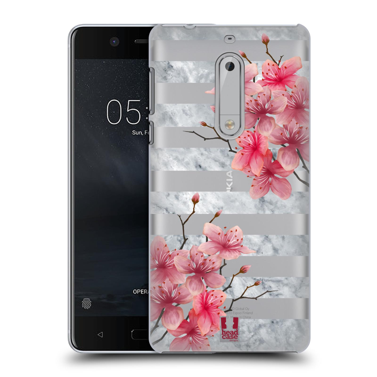 Plastové pouzdro na mobil Nokia 5 Head Case - Kvítka a mramor