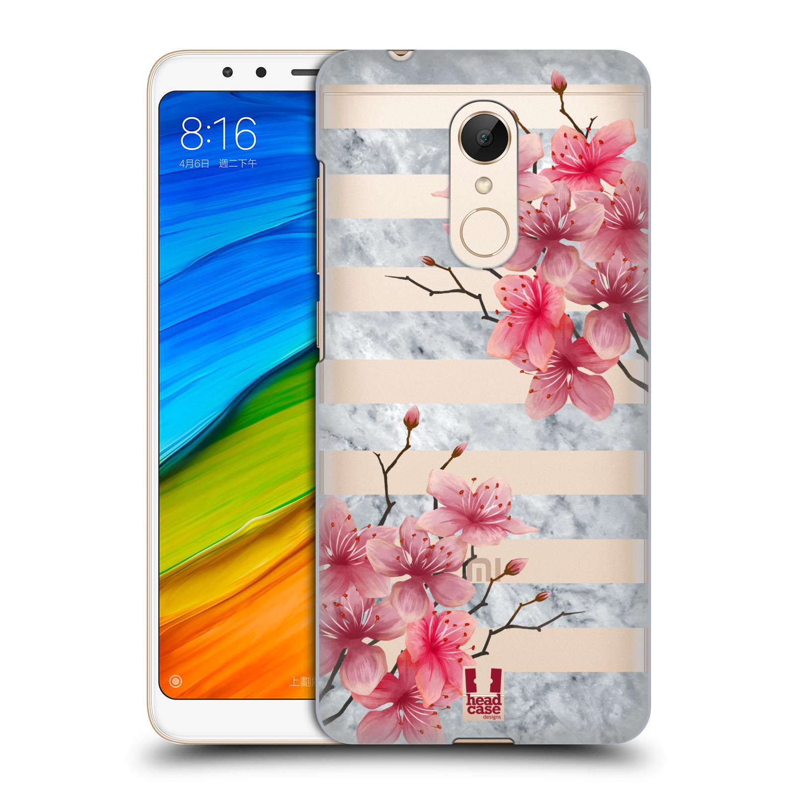 Plastové pouzdro na mobil Xiaomi Redmi 5 - Head Case - Kvítka a mramor