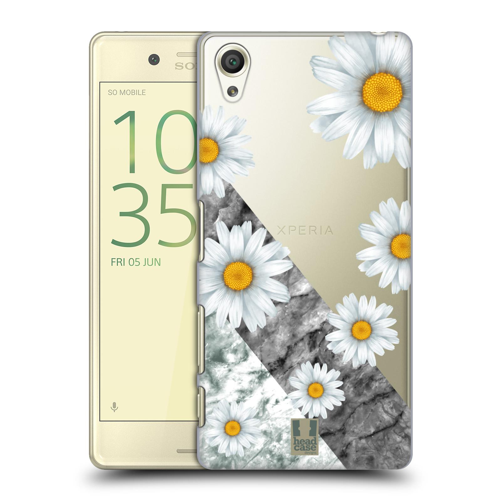 Plastové pouzdro na mobil Sony Xperia X - Head Case - Kopretiny a mramor