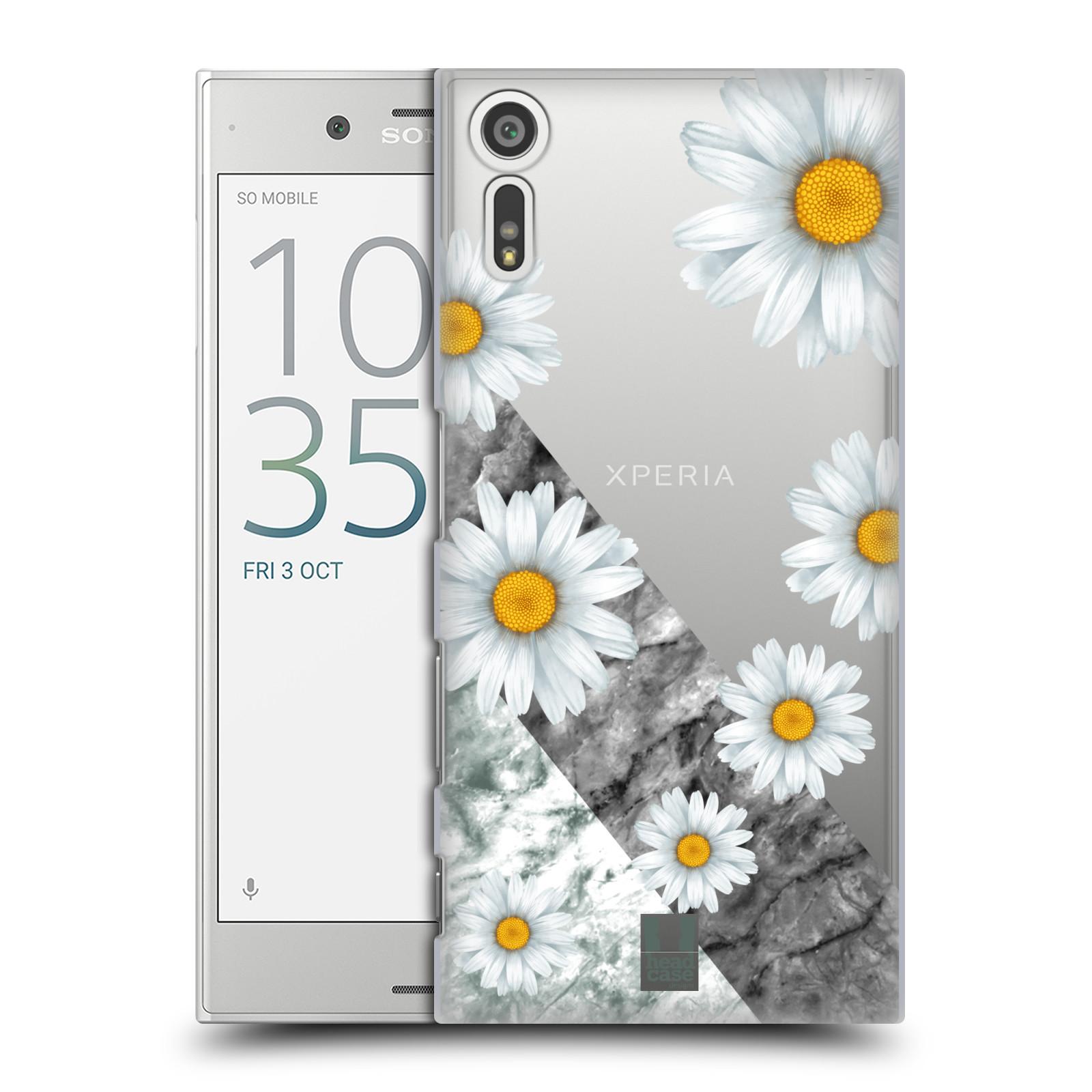 Plastové pouzdro na mobil Sony Xperia XZ - Head Case - Kopretiny a mramor (Plastový kryt či obal na mobilní telefon s motivem Kopretiny a mramor pro Sony Xperia XZ F8331 / Sony Xperia XZ Dual F8332)