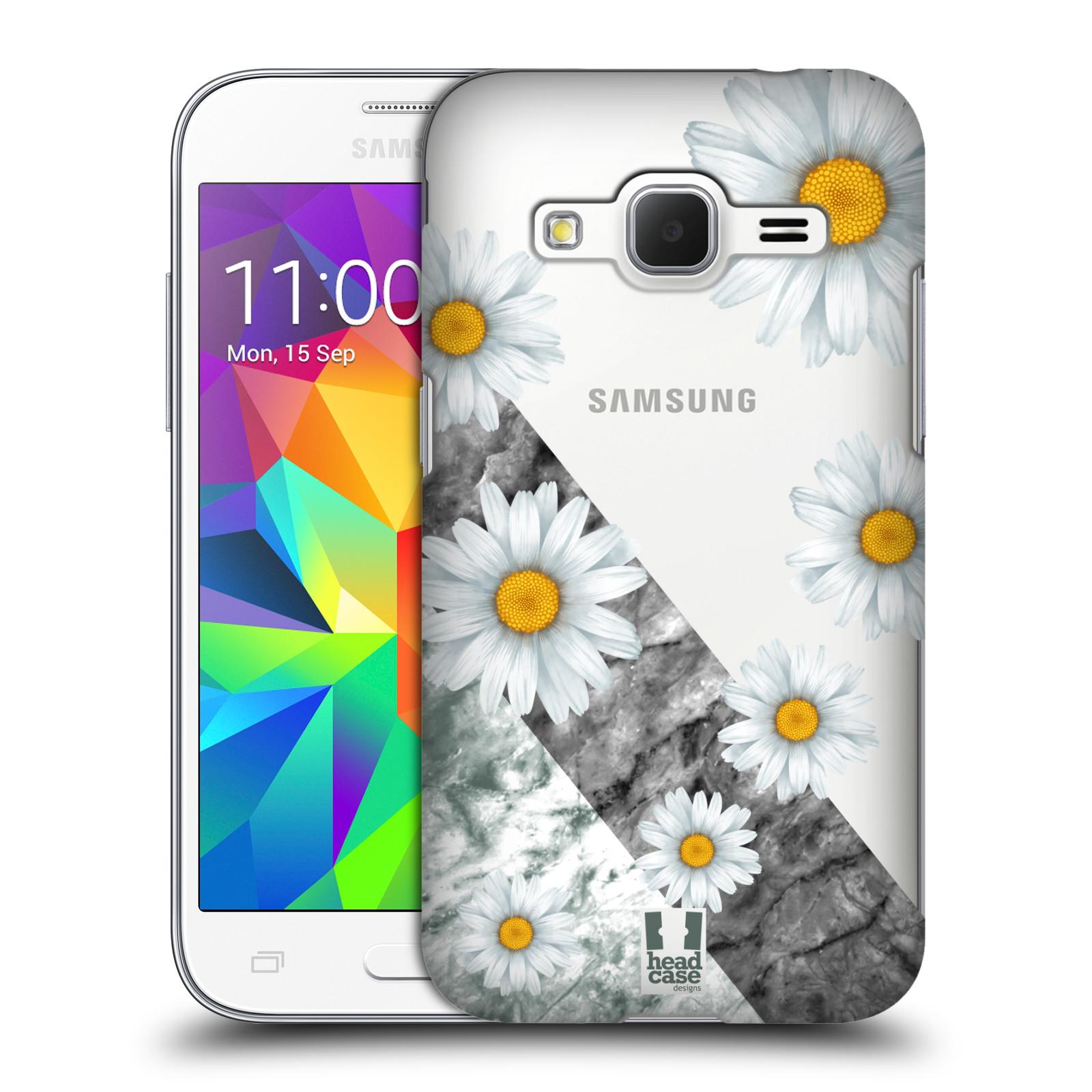 Plastové pouzdro na mobil Samsung Galaxy Core Prime LTE - Head Case - Kopretiny a mramor (Plastový kryt či obal na mobilní telefon s motivem Kopretiny a mramor pro Samsung Galaxy Core Prime LTE SM-G360)