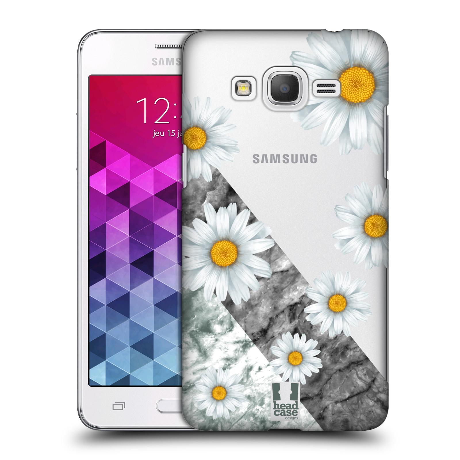Plastové pouzdro na mobil Samsung Galaxy Grand Prime VE - Head Case - Kopretiny a mramor