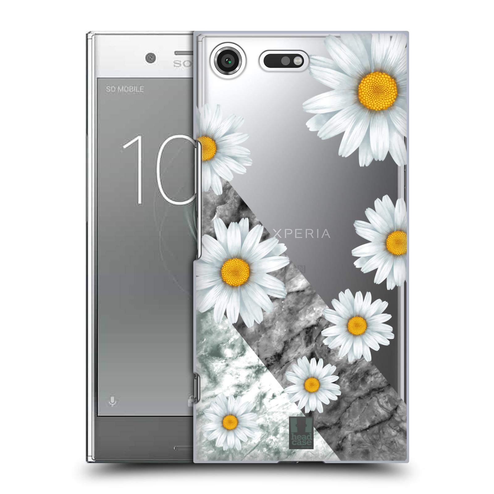 Plastové pouzdro na mobil Sony Xperia XZ Premium Head Case - Kopretiny a mramor