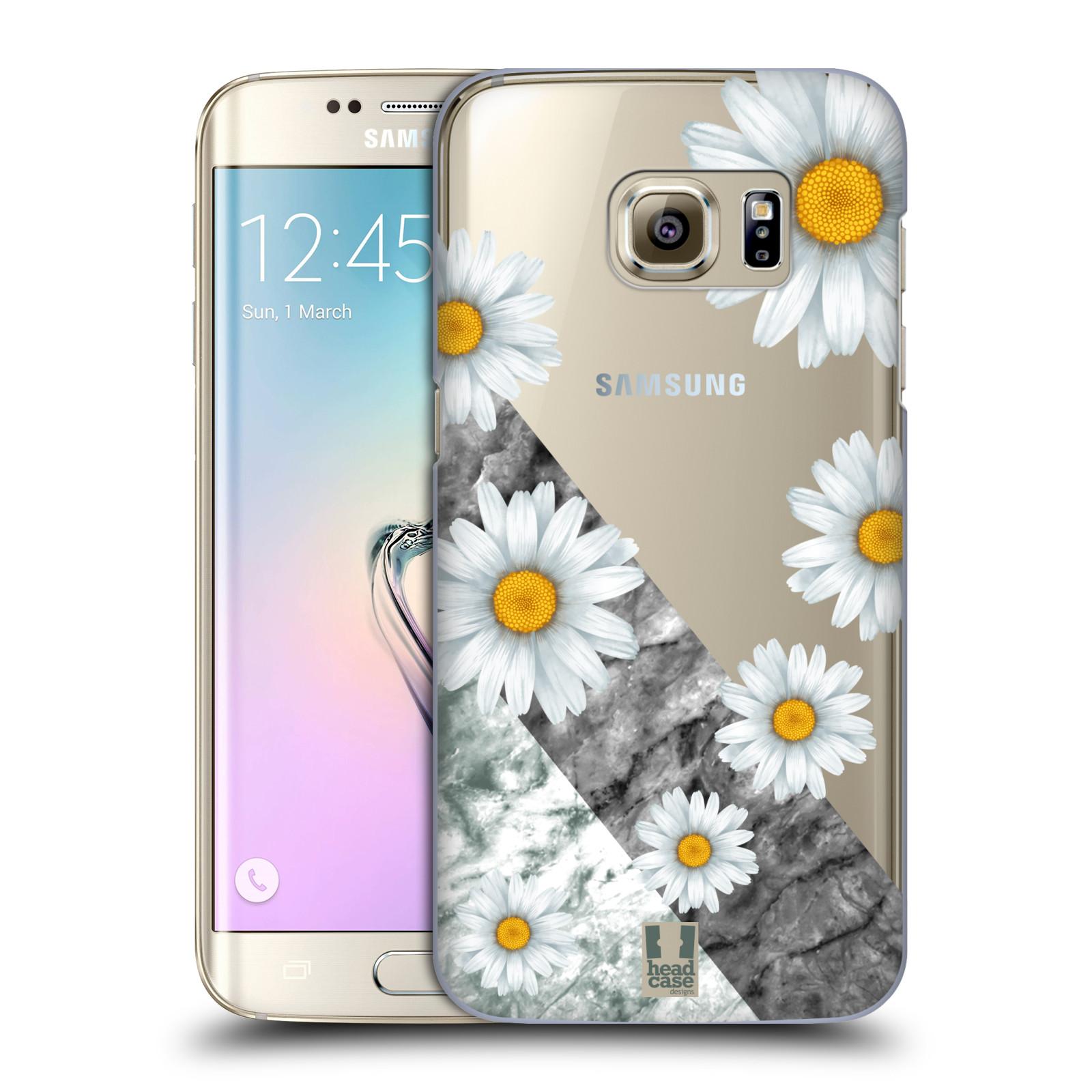 Plastové pouzdro na mobil Samsung Galaxy S7 Edge - Head Case - Kopretiny a mramor (Plastový kryt či obal na mobilní telefon s motivem Kopretiny a mramor pro Samsung Galaxy S7 Edge SM-G935F)
