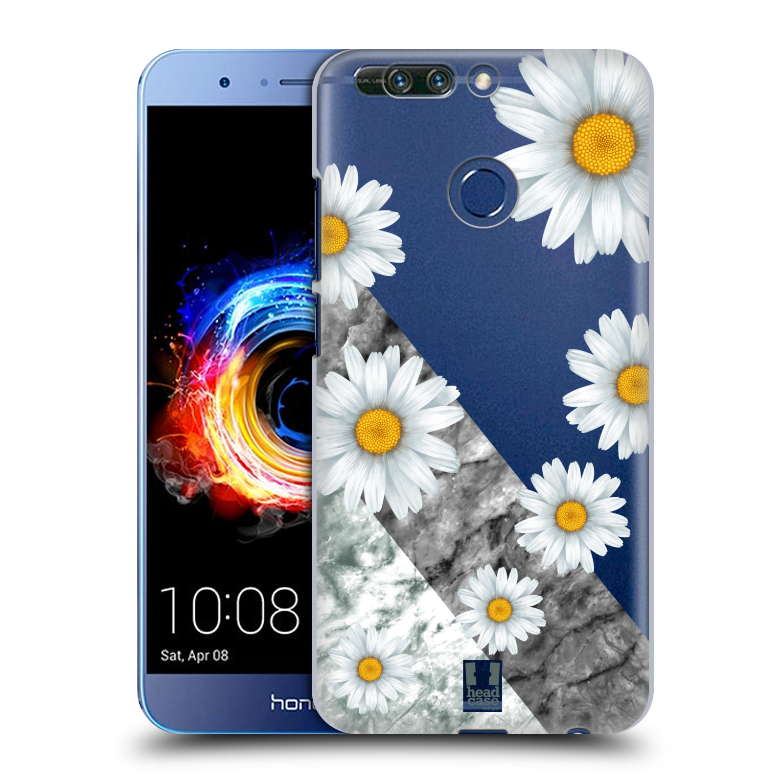 Plastové pouzdro na mobil Honor 8 Pro - Head Case - Kopretiny a mramor