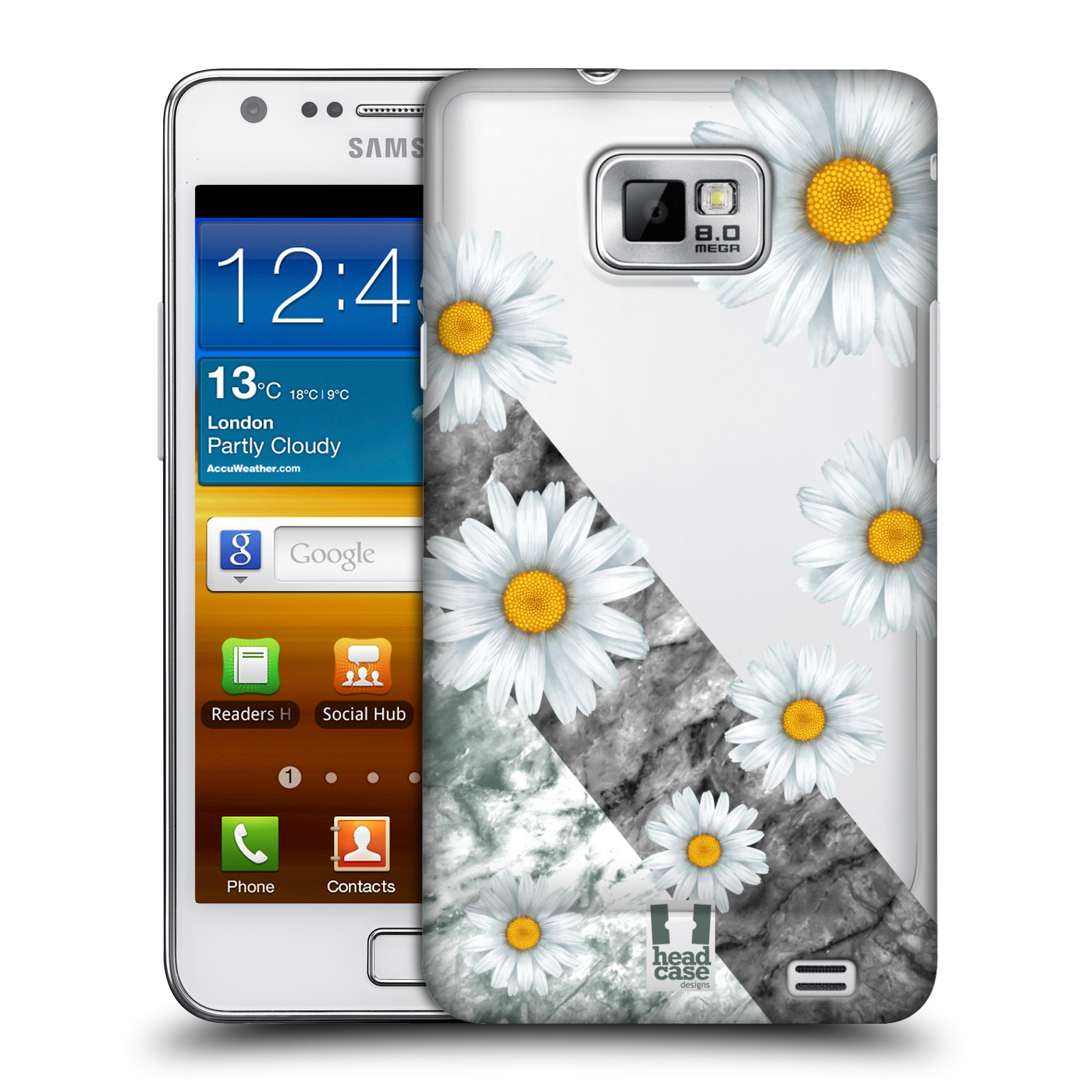 Plastové pouzdro na mobil Samsung Galaxy S II - Head Case - Kopretiny a mramor