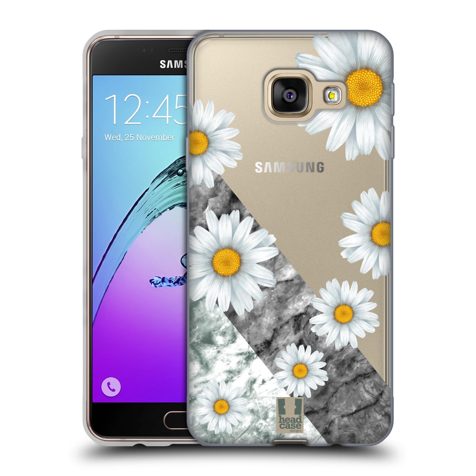 Silikonové pouzdro na mobil Samsung Galaxy A3 (2016) - Head Case - Kopretiny a mramor