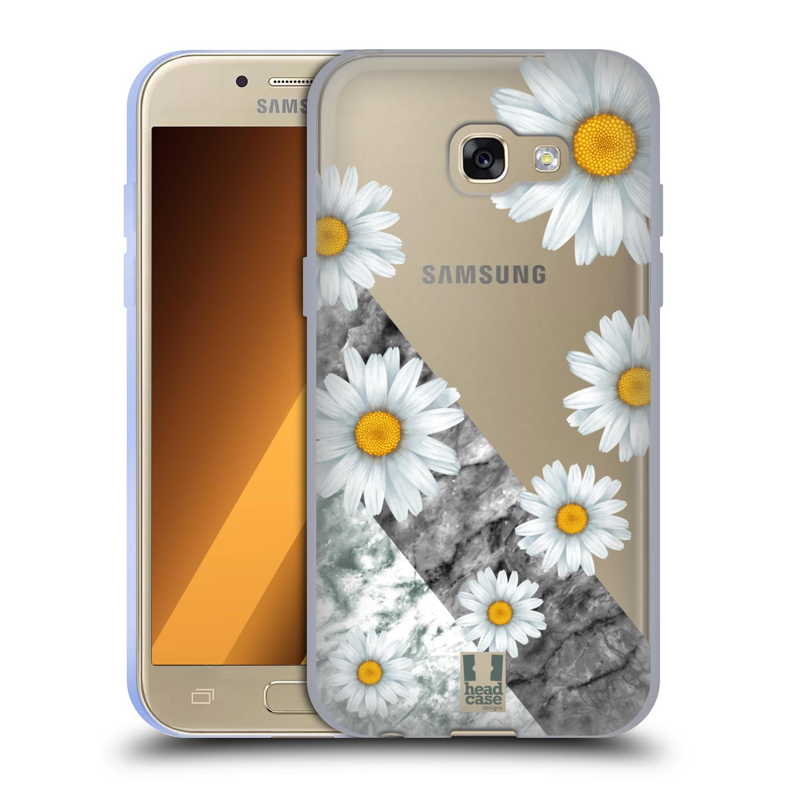 Silikonové pouzdro na mobil Samsung Galaxy A3 (2017) - Head Case - Kopretiny a mramor