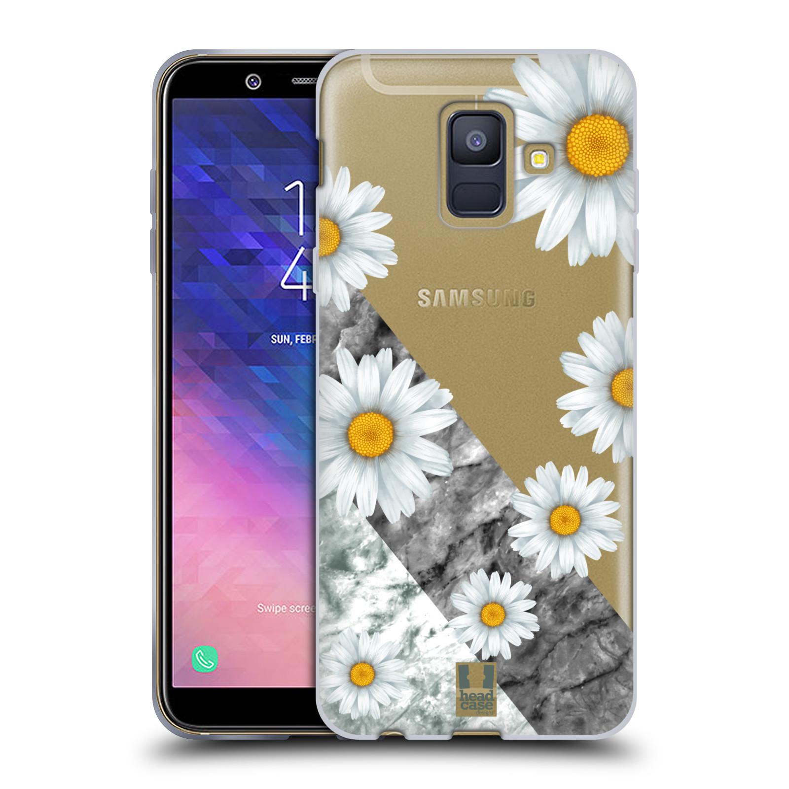 Silikonové pouzdro na mobil Samsung Galaxy A6 (2018) - Head Case - Kopretiny a mramor