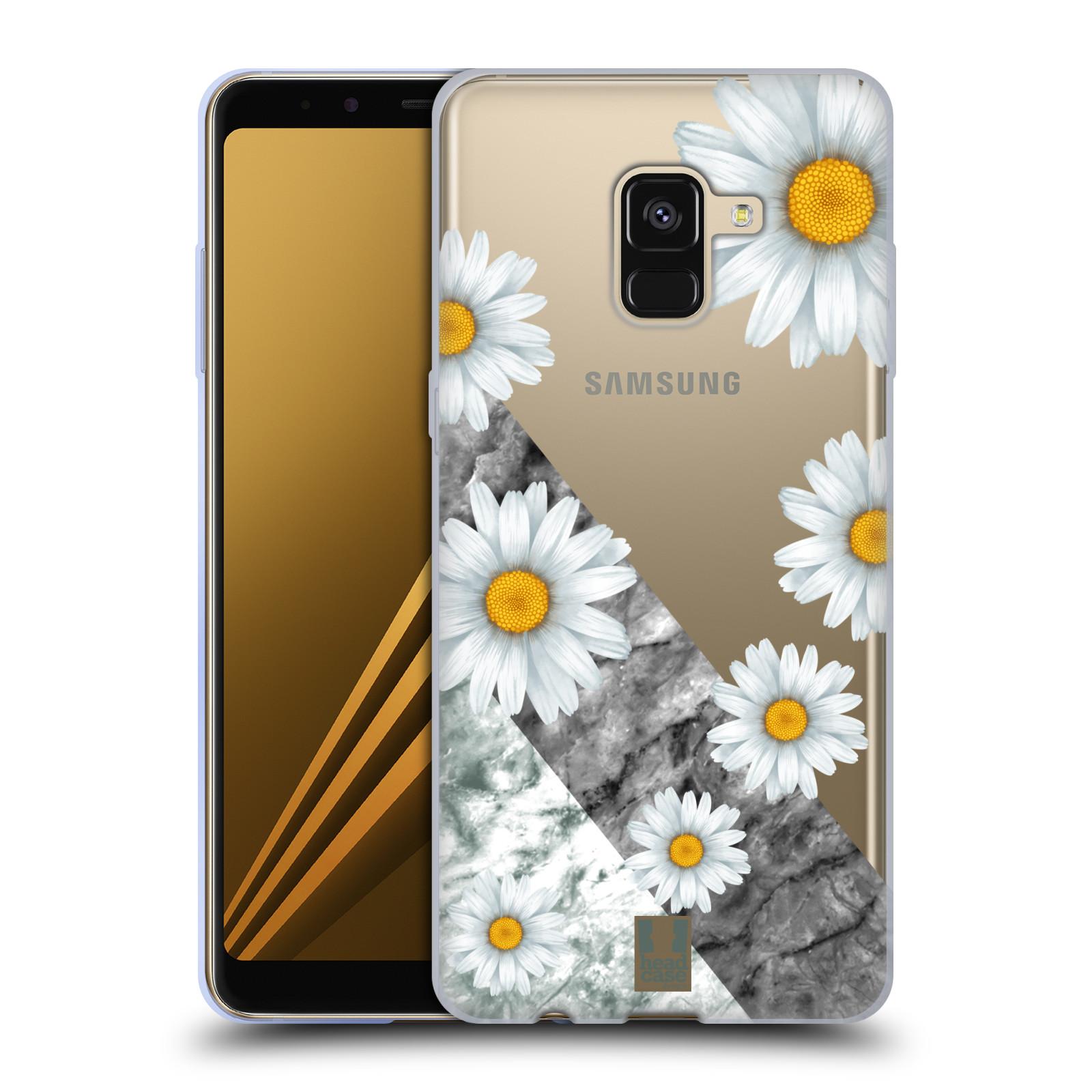 Silikonové pouzdro na mobil Samsung Galaxy A8 (2018) - Head Case - Kopretiny a mramor