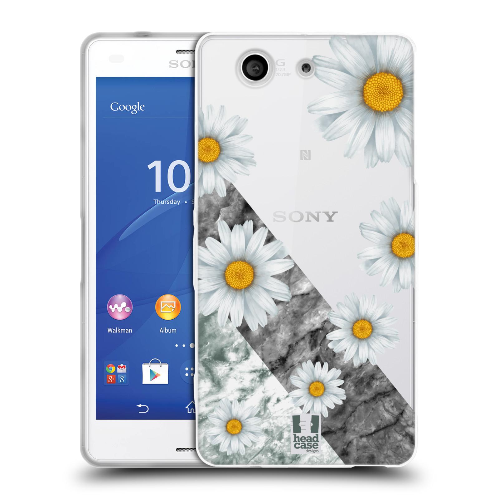 Silikonové pouzdro na mobil Sony Xperia Z3 Compact D5803 - Head Case - Kopretiny a mramor