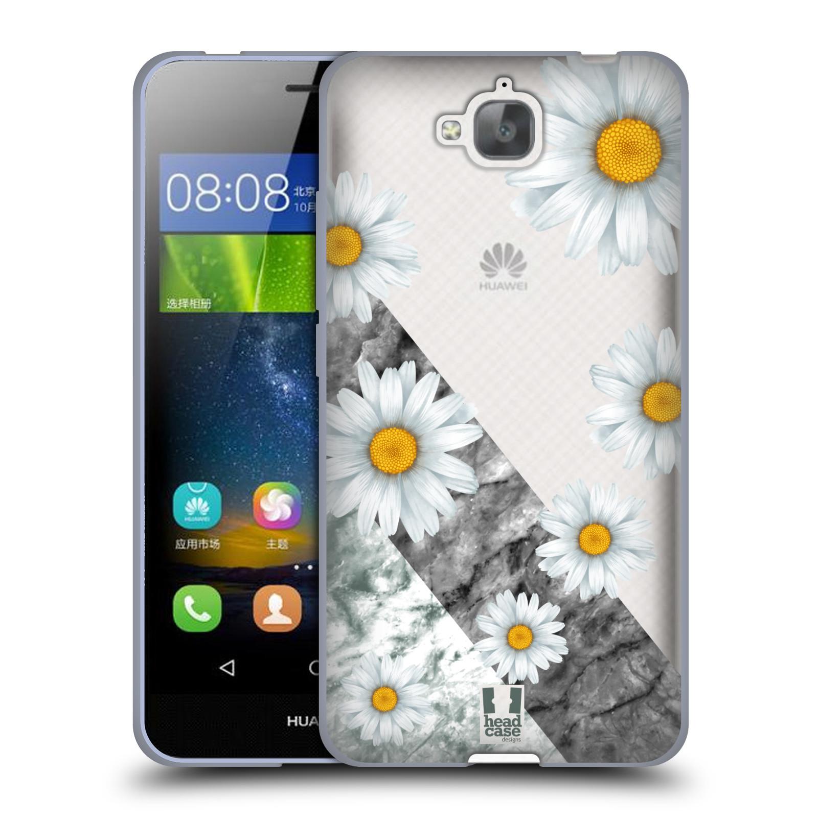 Silikonové pouzdro na mobil Huawei Y6 Pro Dual Sim - Head Case - Kopretiny a mramor