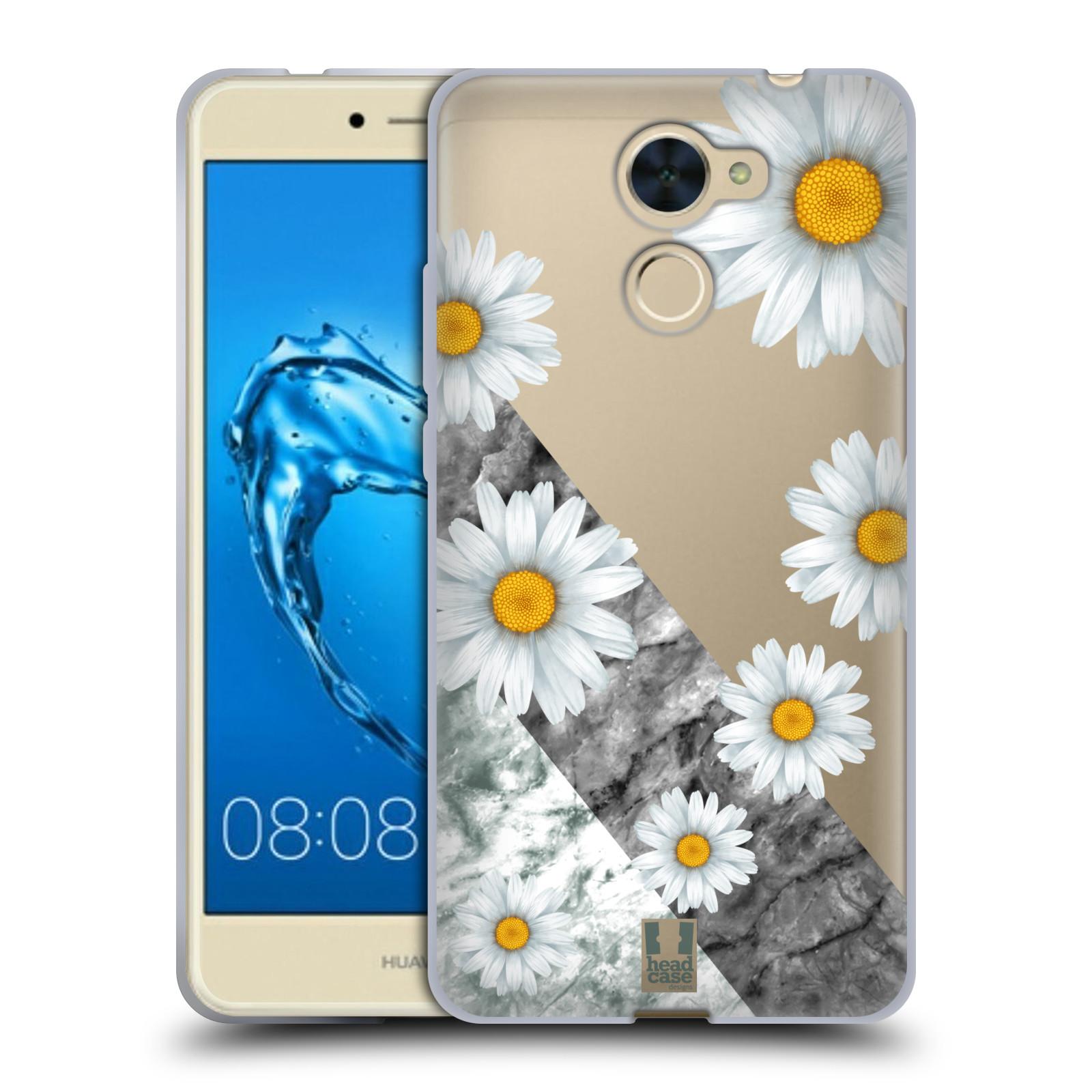 Silikonové pouzdro na mobil Huawei Y7 - Head Case - Kopretiny a mramor