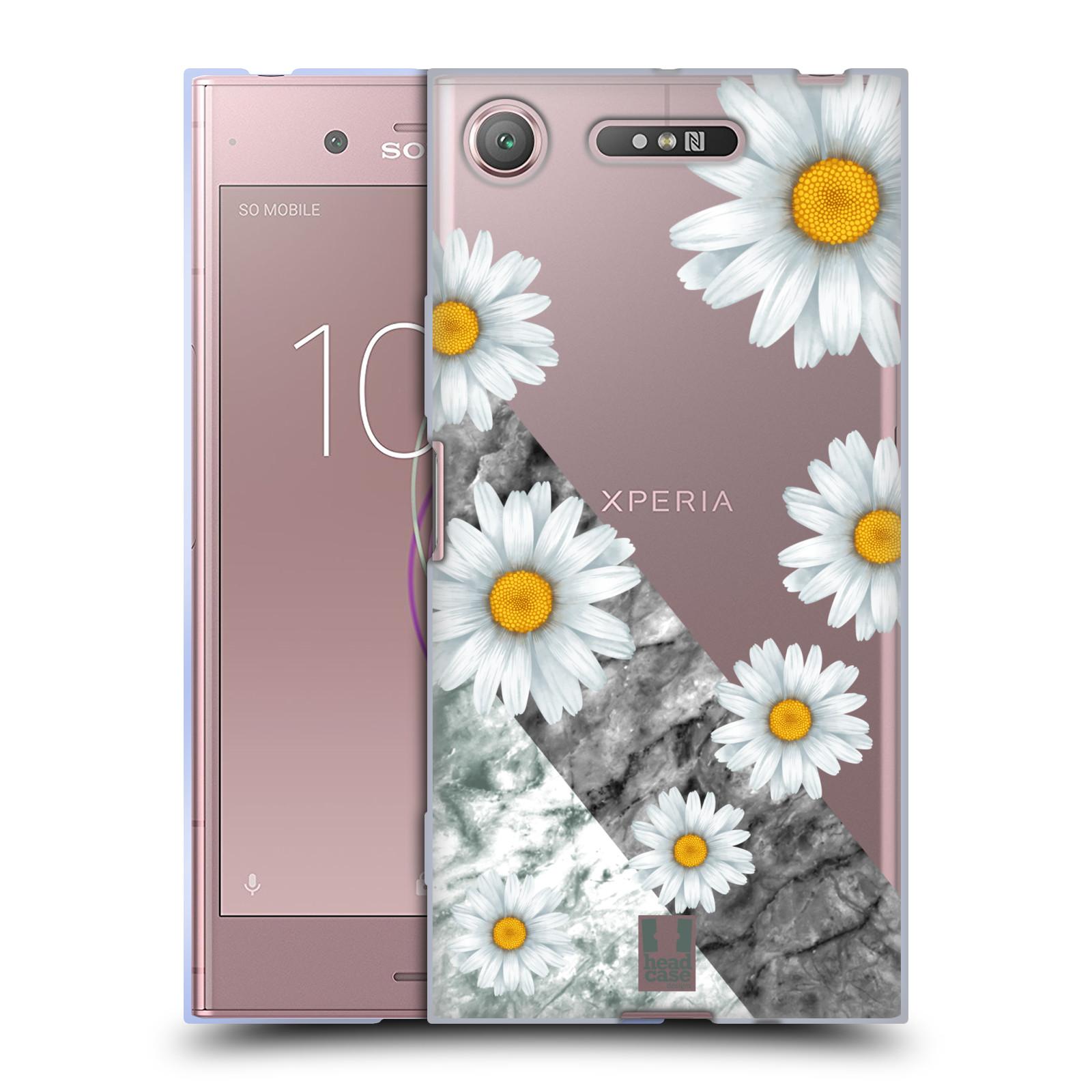 Silikonové pouzdro na mobil Sony Xperia XZ1 - Head Case - Kopretiny a mramor