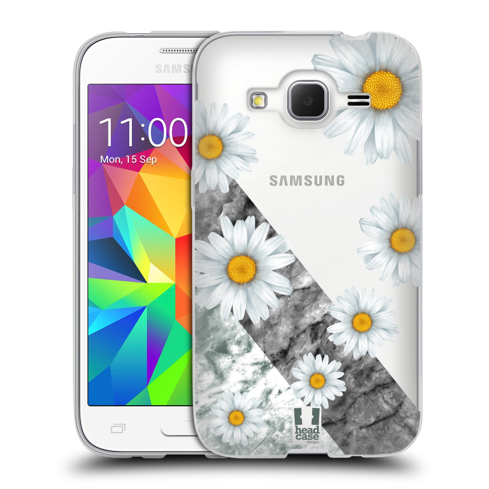 Silikonové pouzdro na mobil Samsung Galaxy Core Prime LTE - Head Case - Kopretiny a mramor