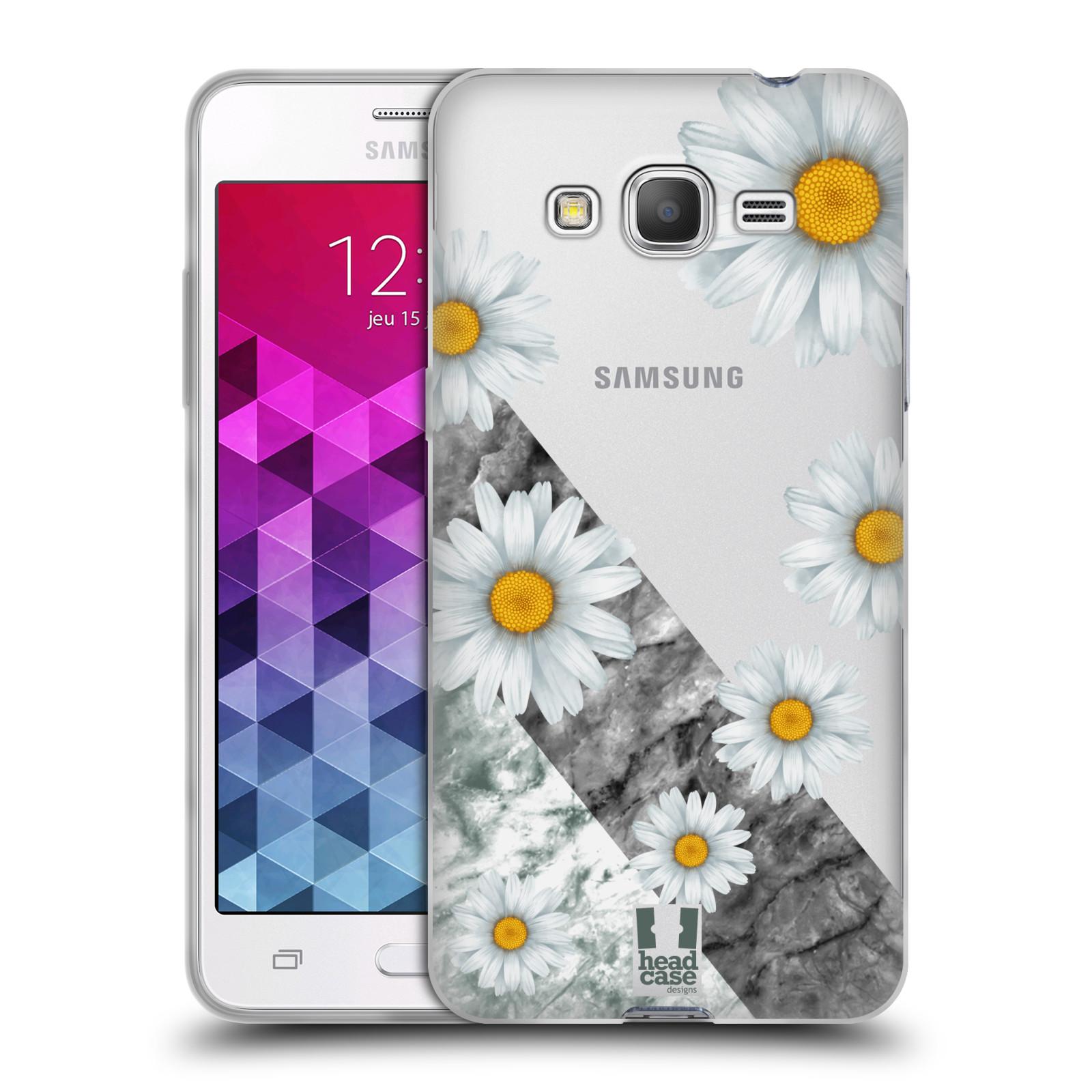 Silikonové pouzdro na mobil Samsung Galaxy Grand Prime - Head Case - Kopretiny a mramor