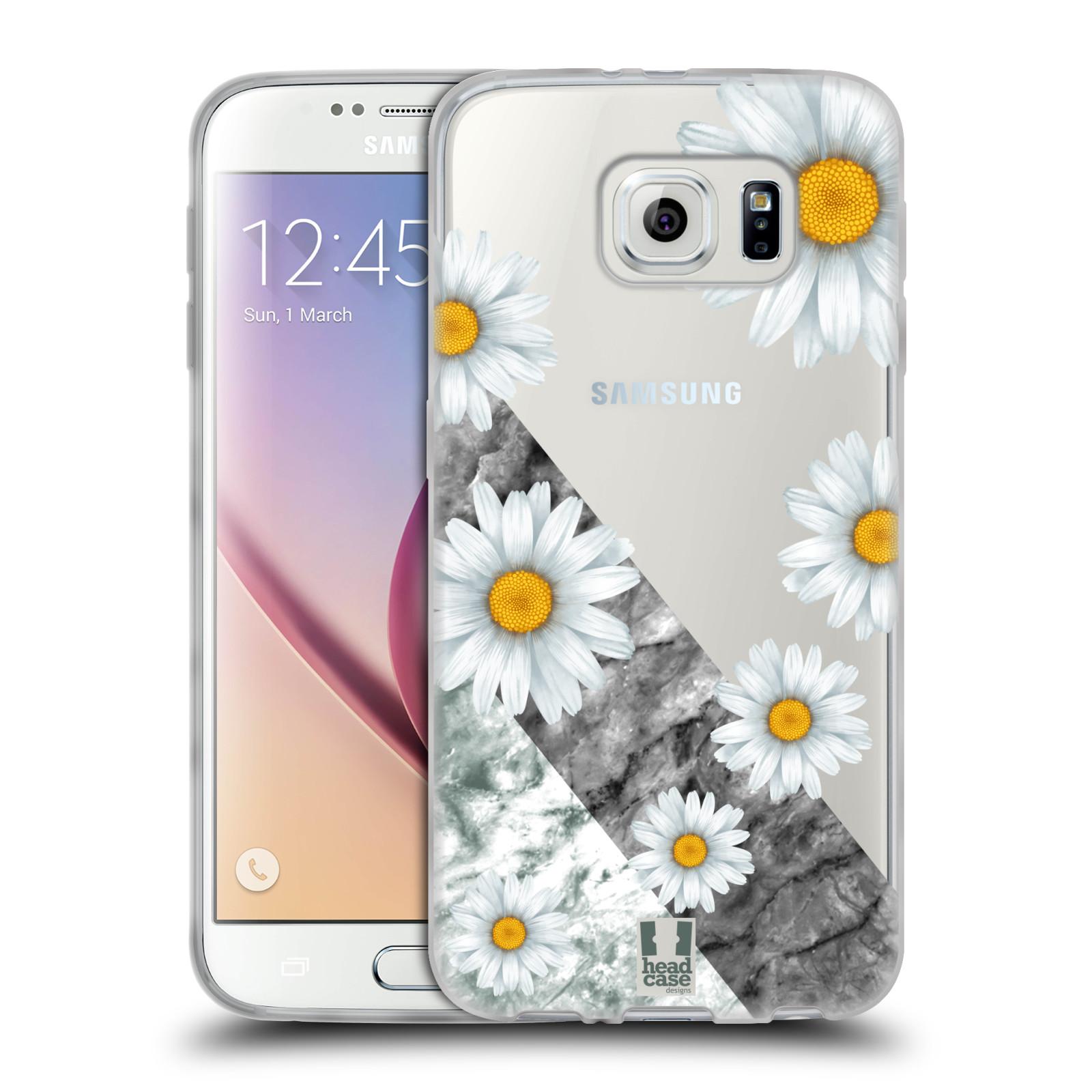 Silikonové pouzdro na mobil Samsung Galaxy S6 - Head Case - Kopretiny a mramor