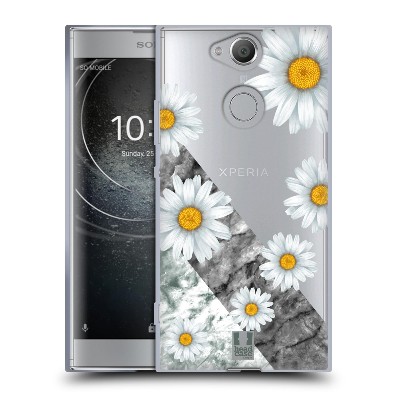 Silikonové pouzdro na mobil Sony Xperia XA2 - Head Case - Kopretiny a mramor