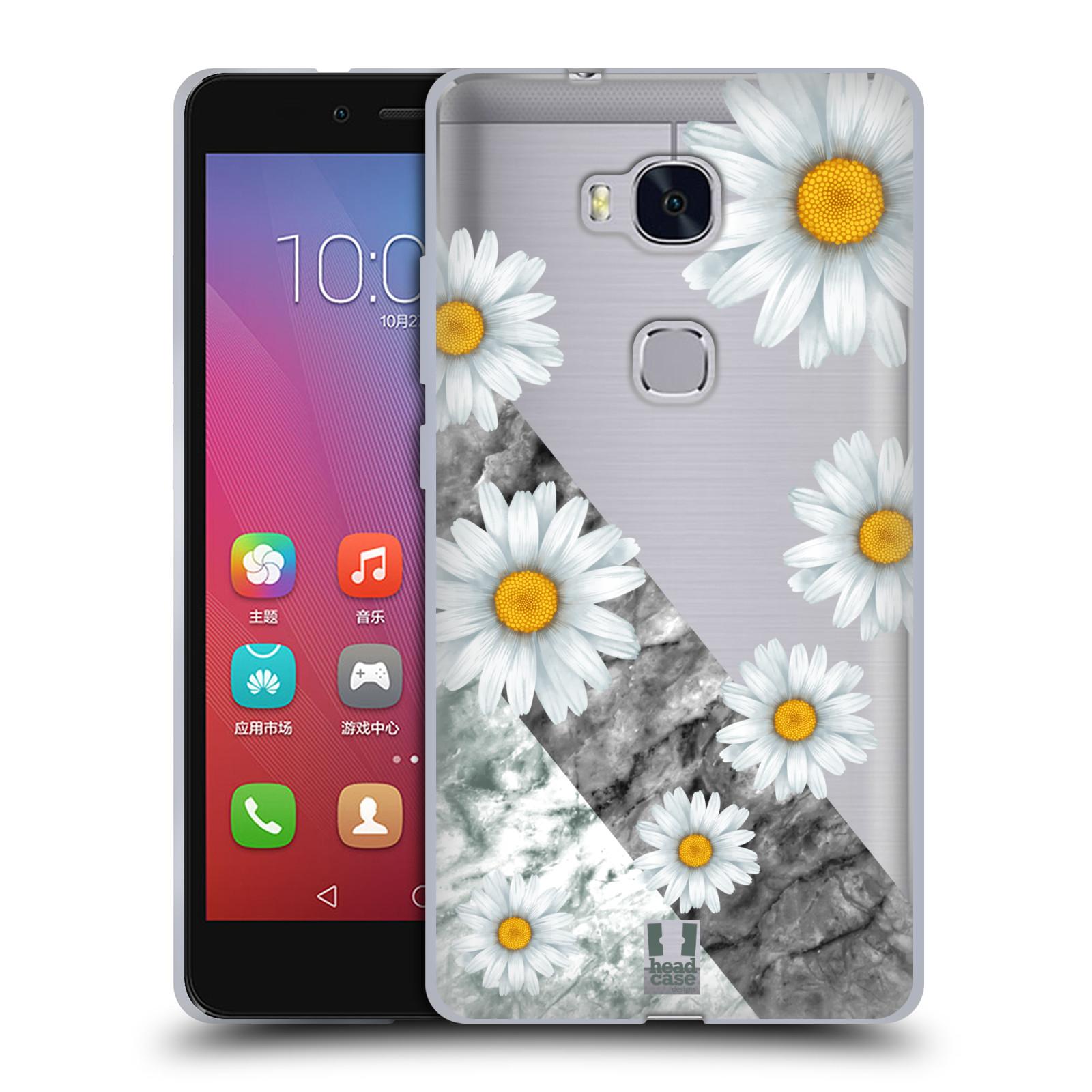Silikonové pouzdro na mobil Honor 5X - Head Case - Kopretiny a mramor
