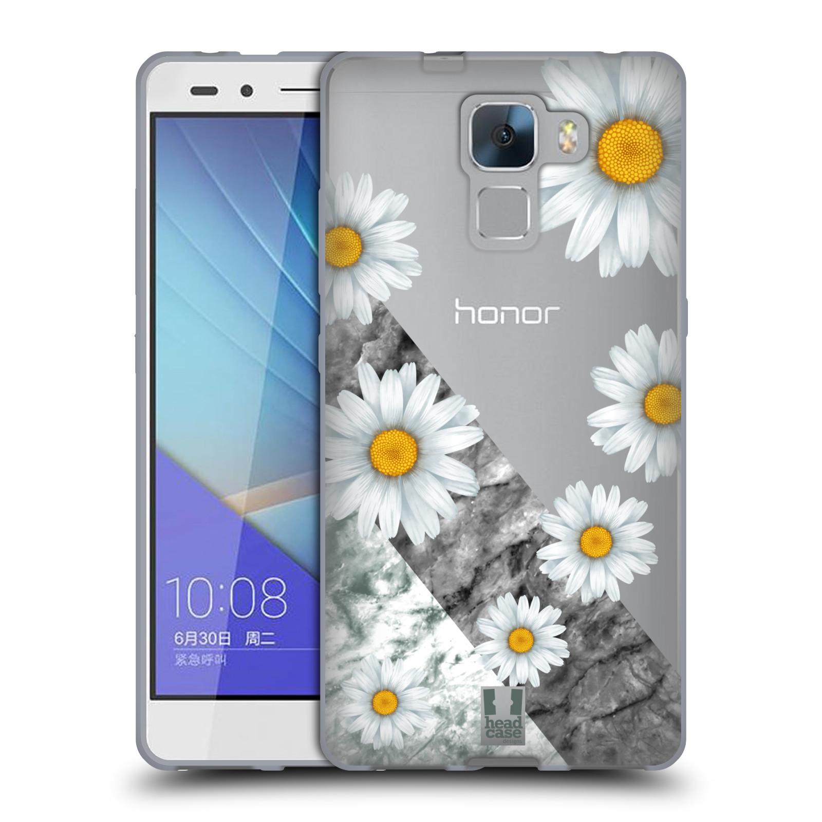 Silikonové pouzdro na mobil Honor 7 - Head Case - Kopretiny a mramor