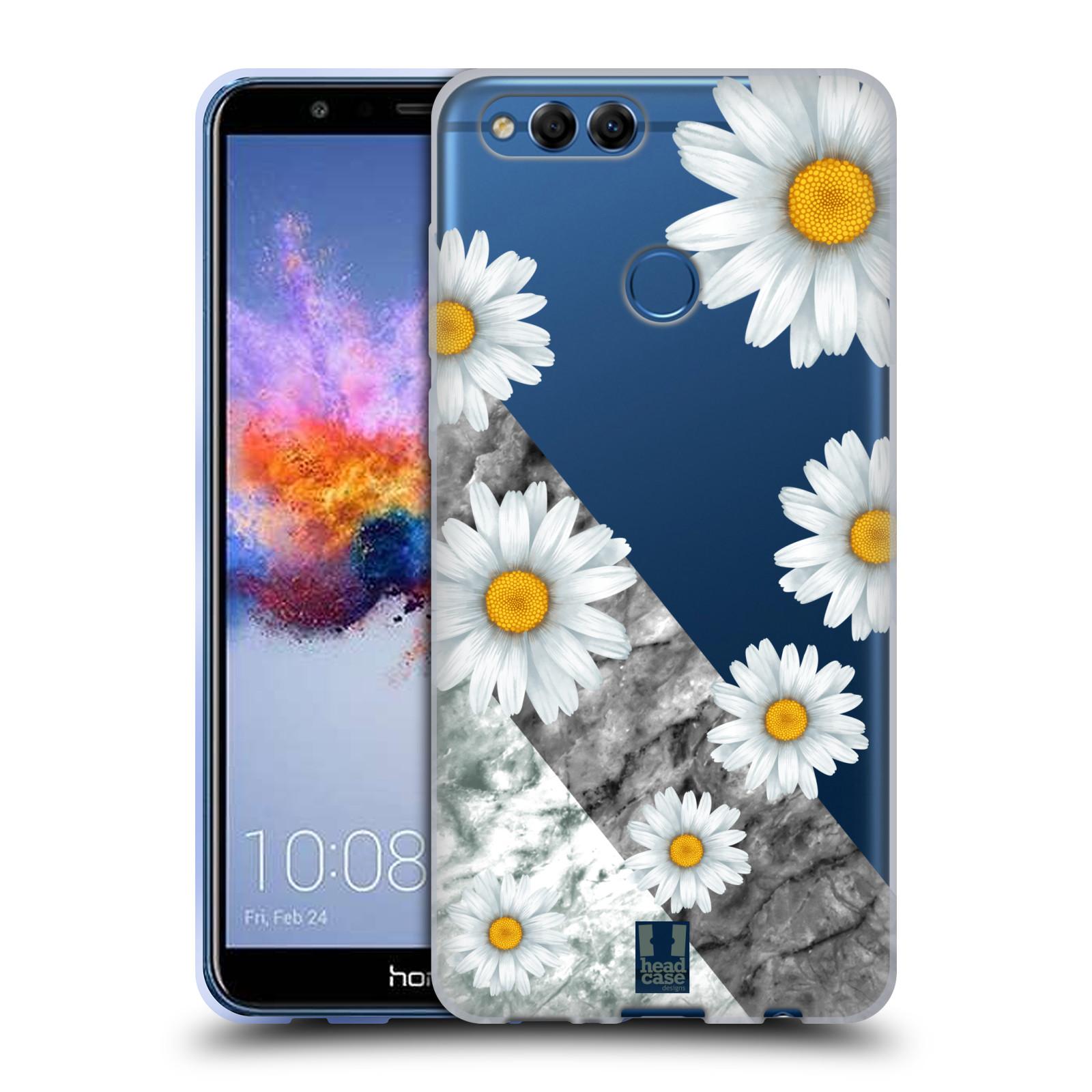 Silikonové pouzdro na mobil Honor 7X - Head Case - Kopretiny a mramor