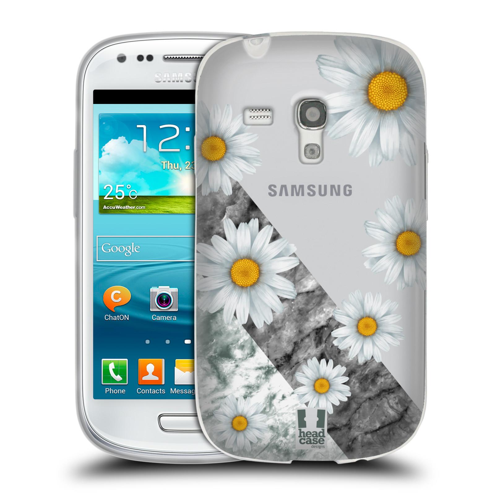 Silikonové pouzdro na mobil Samsung Galaxy S III Mini - Head Case - Kopretiny a mramor