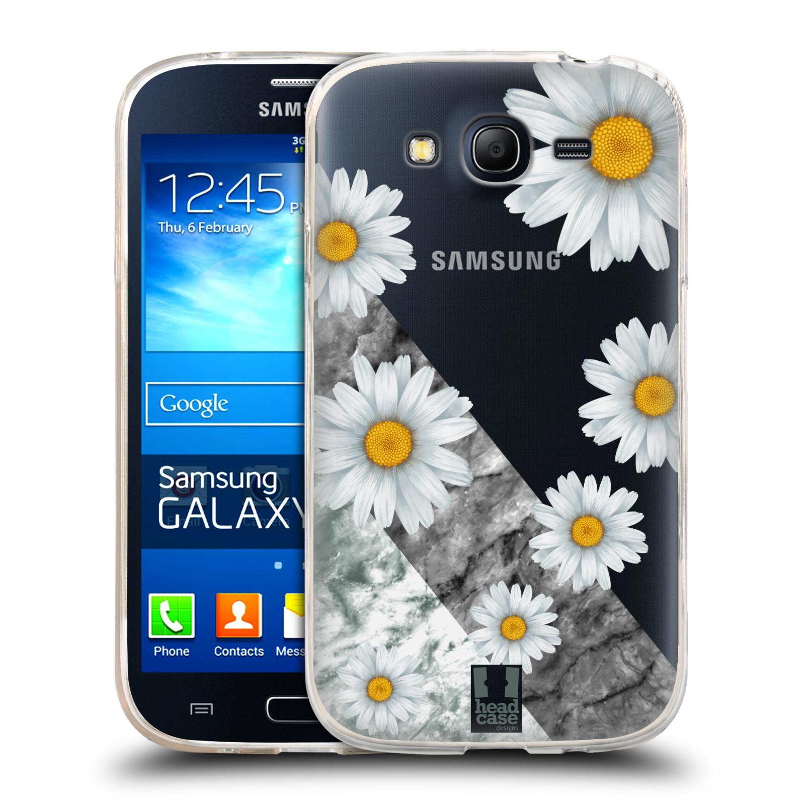 Silikonové pouzdro na mobil Samsung Galaxy Grand Neo Plus - Head Case - Kopretiny a mramor