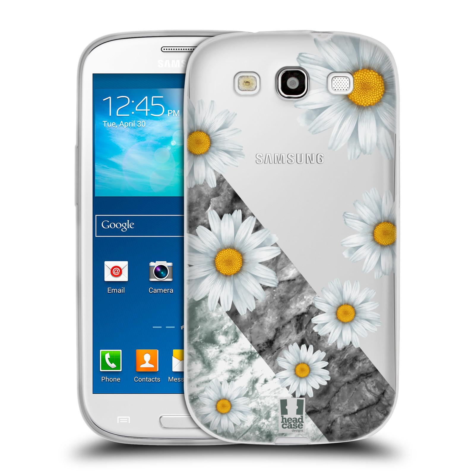 Silikonové pouzdro na mobil Samsung Galaxy S3 Neo - Head Case - Kopretiny a mramor
