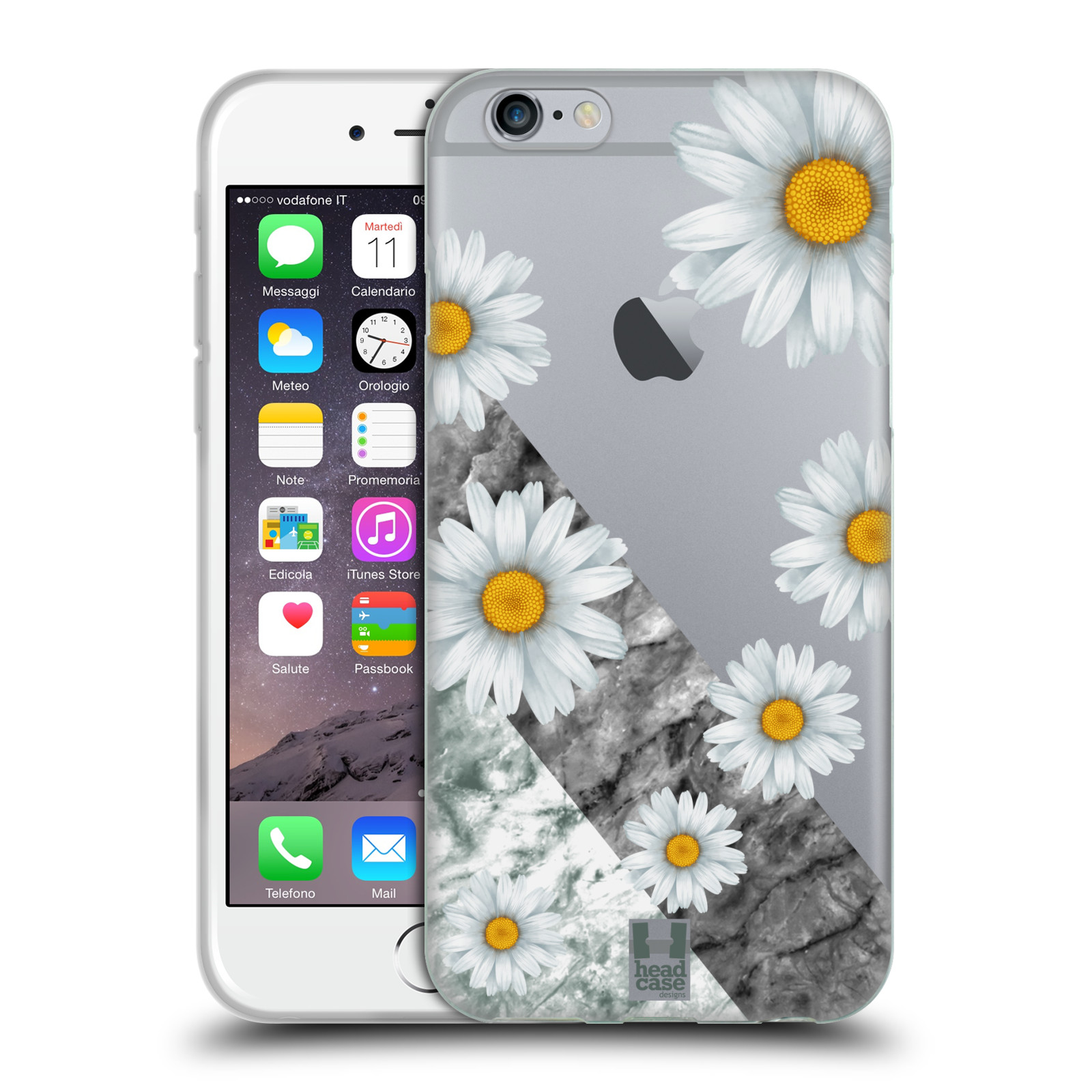 Silikonové pouzdro na mobil Apple iPhone 6 - Head Case - Kopretiny a mramor