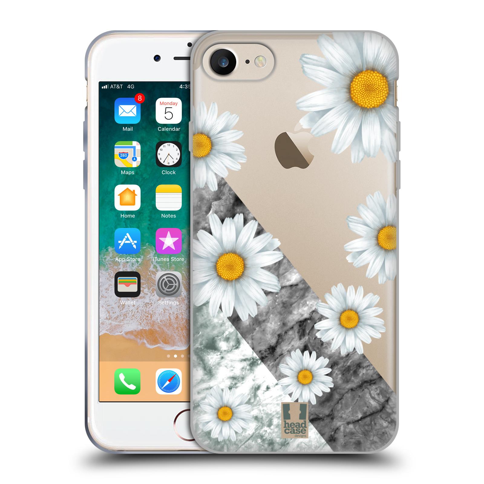 Silikonové pouzdro na mobil Apple iPhone 7 - Head Case - Kopretiny a mramor